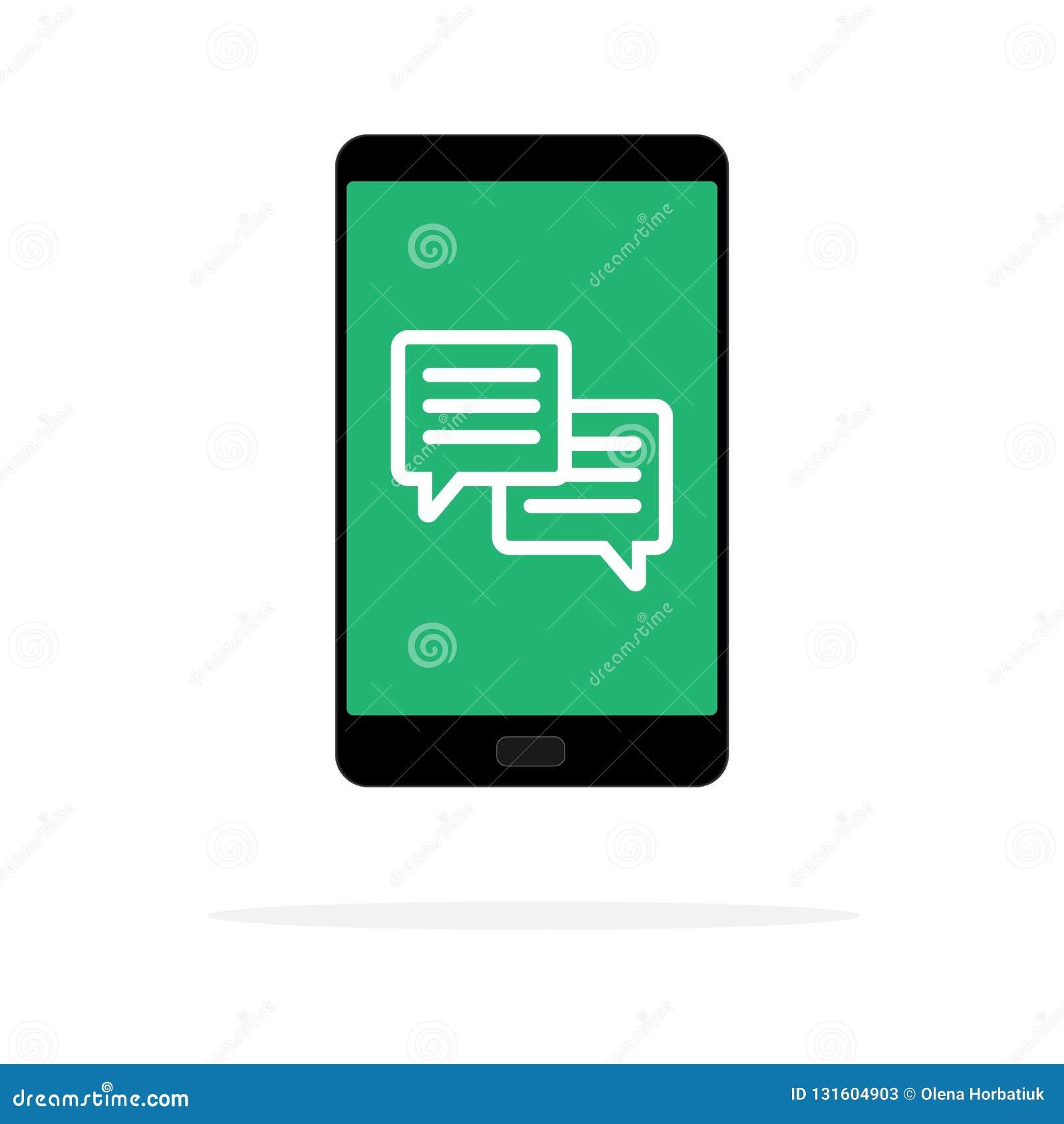 手机闲谈消息通知在颜色背景隔绝的传染媒介例证和聊天的泡影讲话,