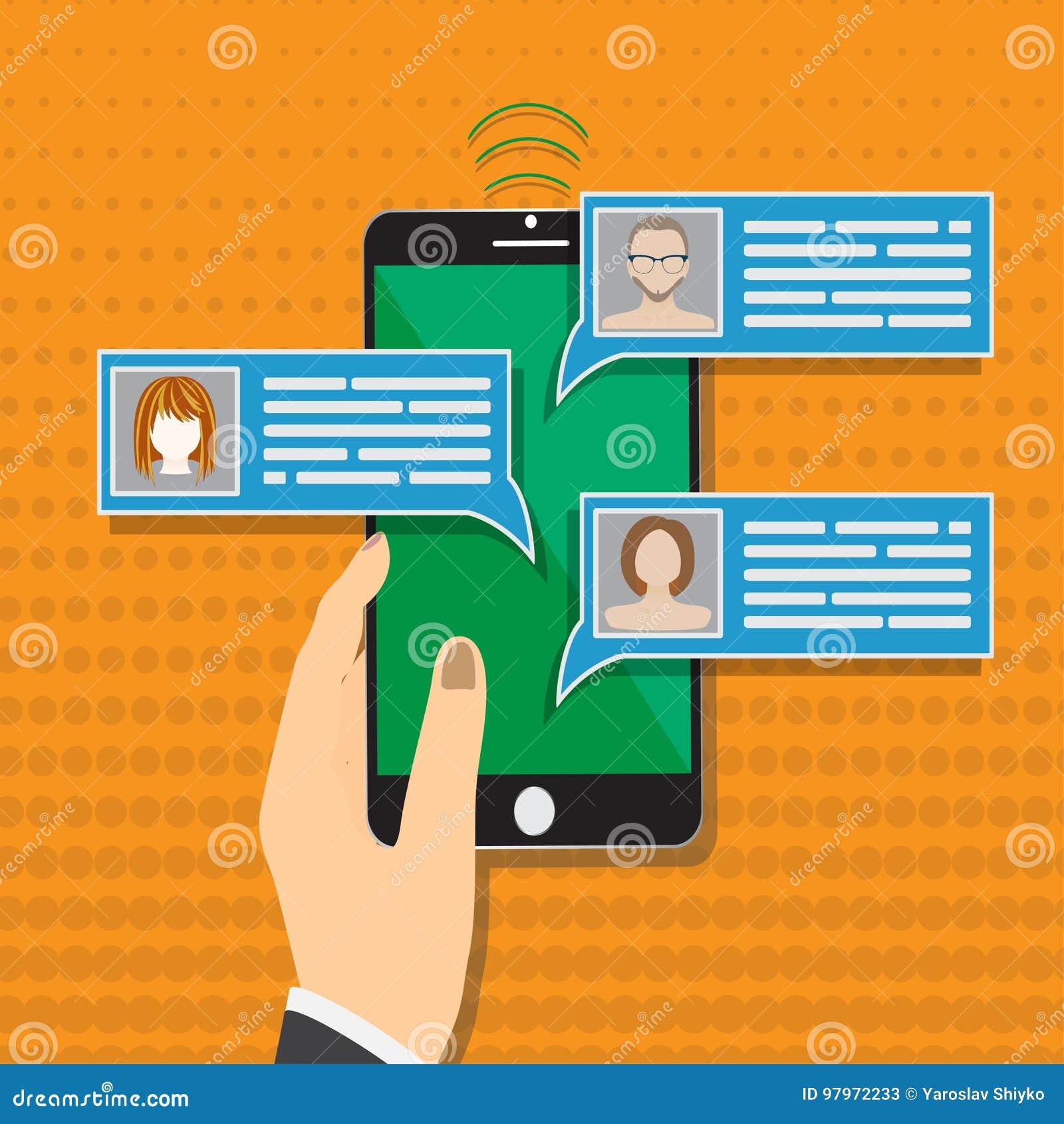 手机闲谈消息通知导航在颜色背景,有智能手机的手的例证