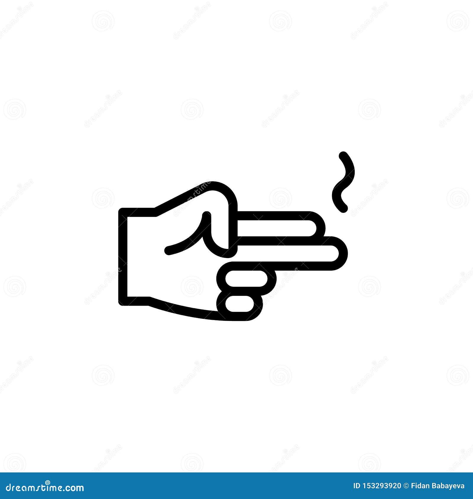 手枪姿态概述象 手势例证象的元素 标志,标志可以为网,商标,流动应用程序,UI使用