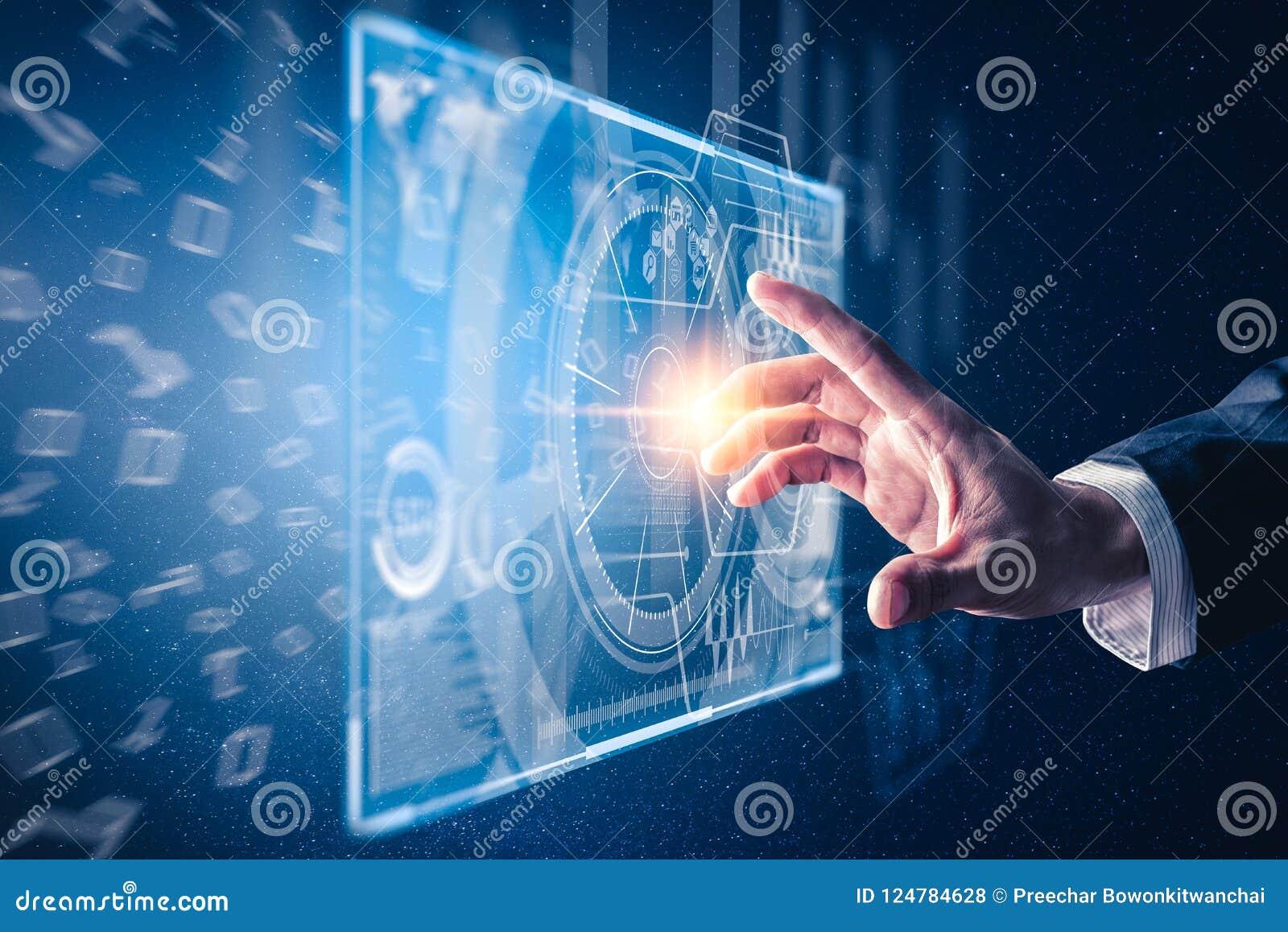 手点的抽象图象对企业真正全息图的通过屏幕