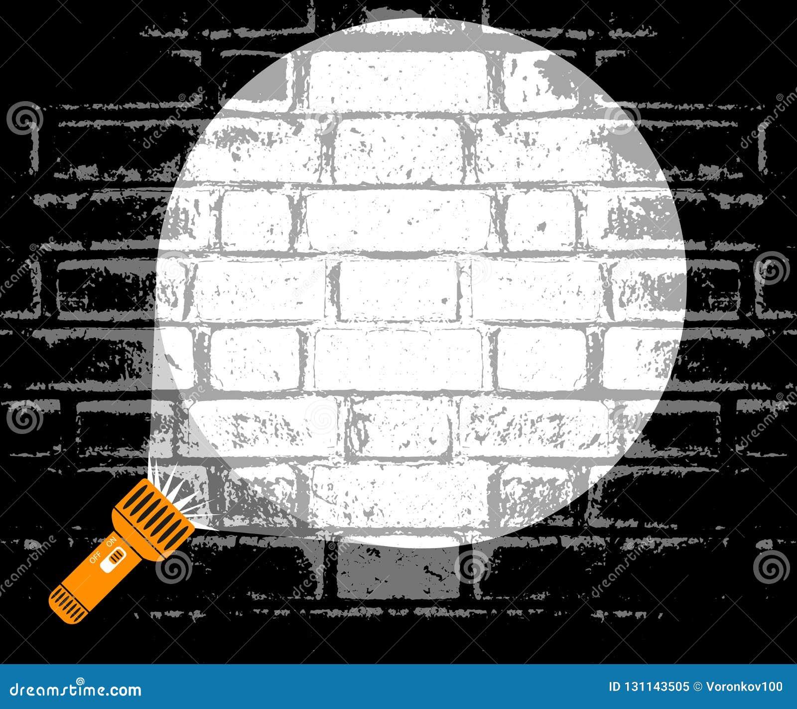 手电光柱被指挥在墙壁 搜寻在一个暗室的探员的概念 警察抓一名罪犯