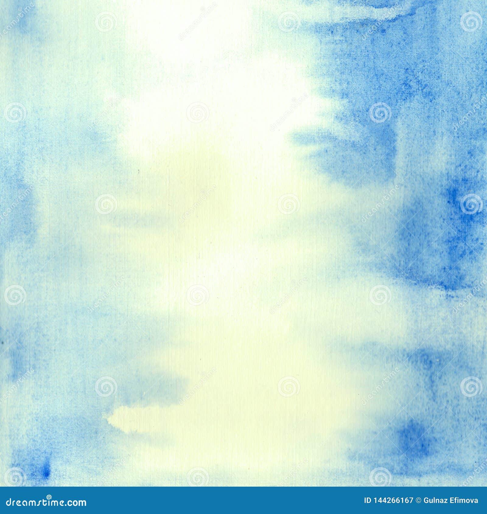 手画аbstract蓝色水彩背景