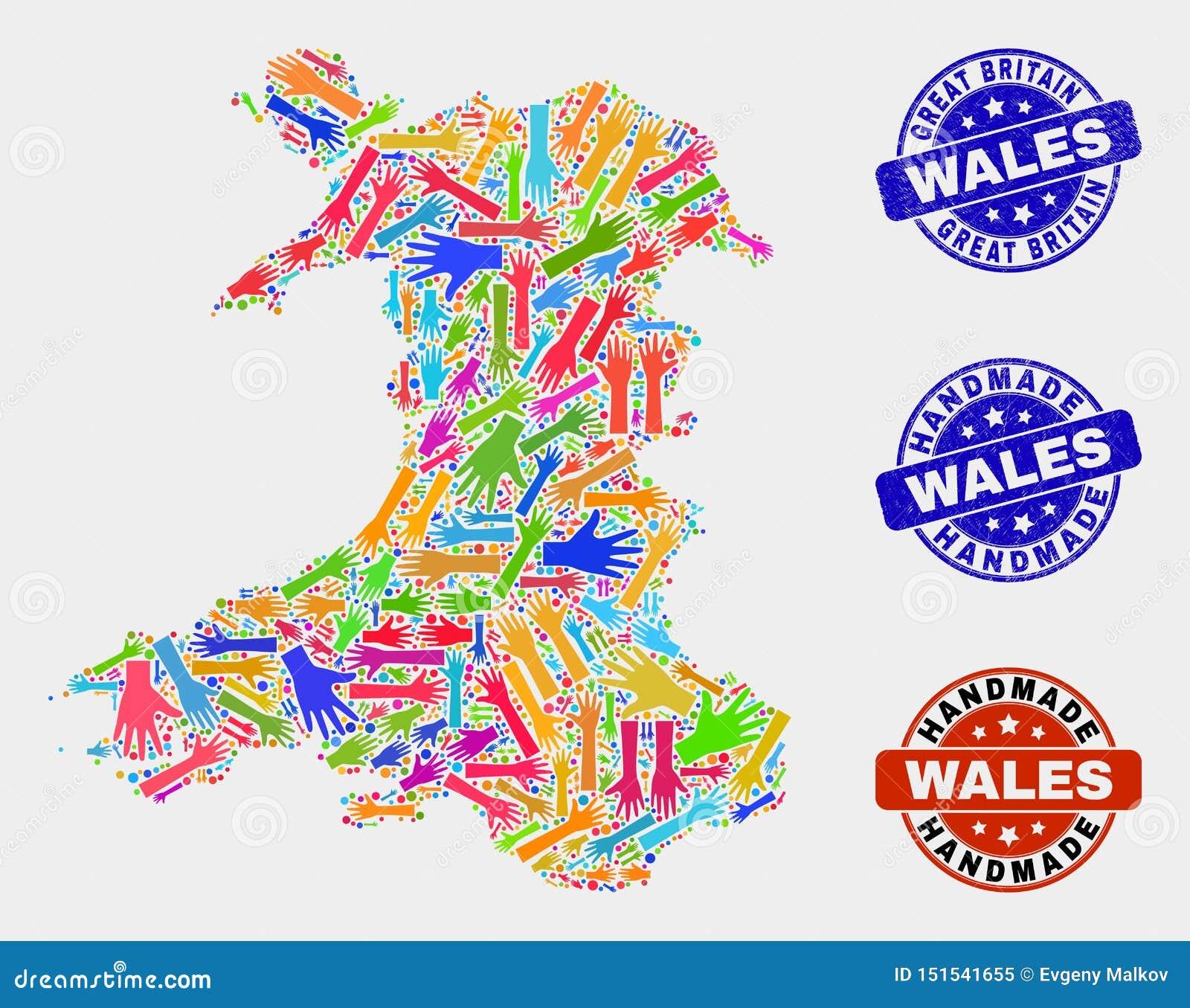 手结构的威尔士地图和被抓的手工制造邮票