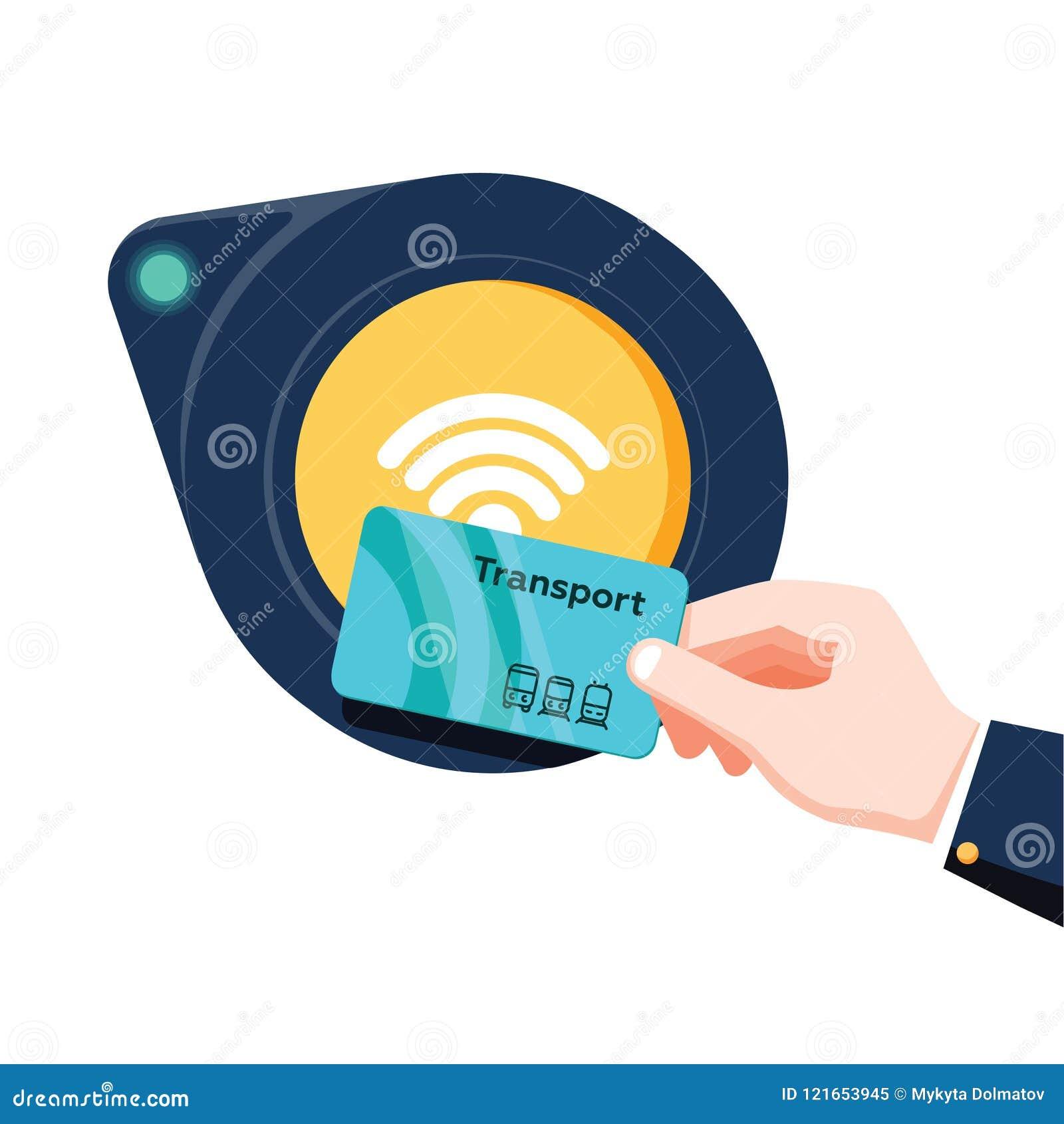手藏品在终端附近的运输卡片 机场,地铁,公共汽车,地铁票终端validator 不接触的付款