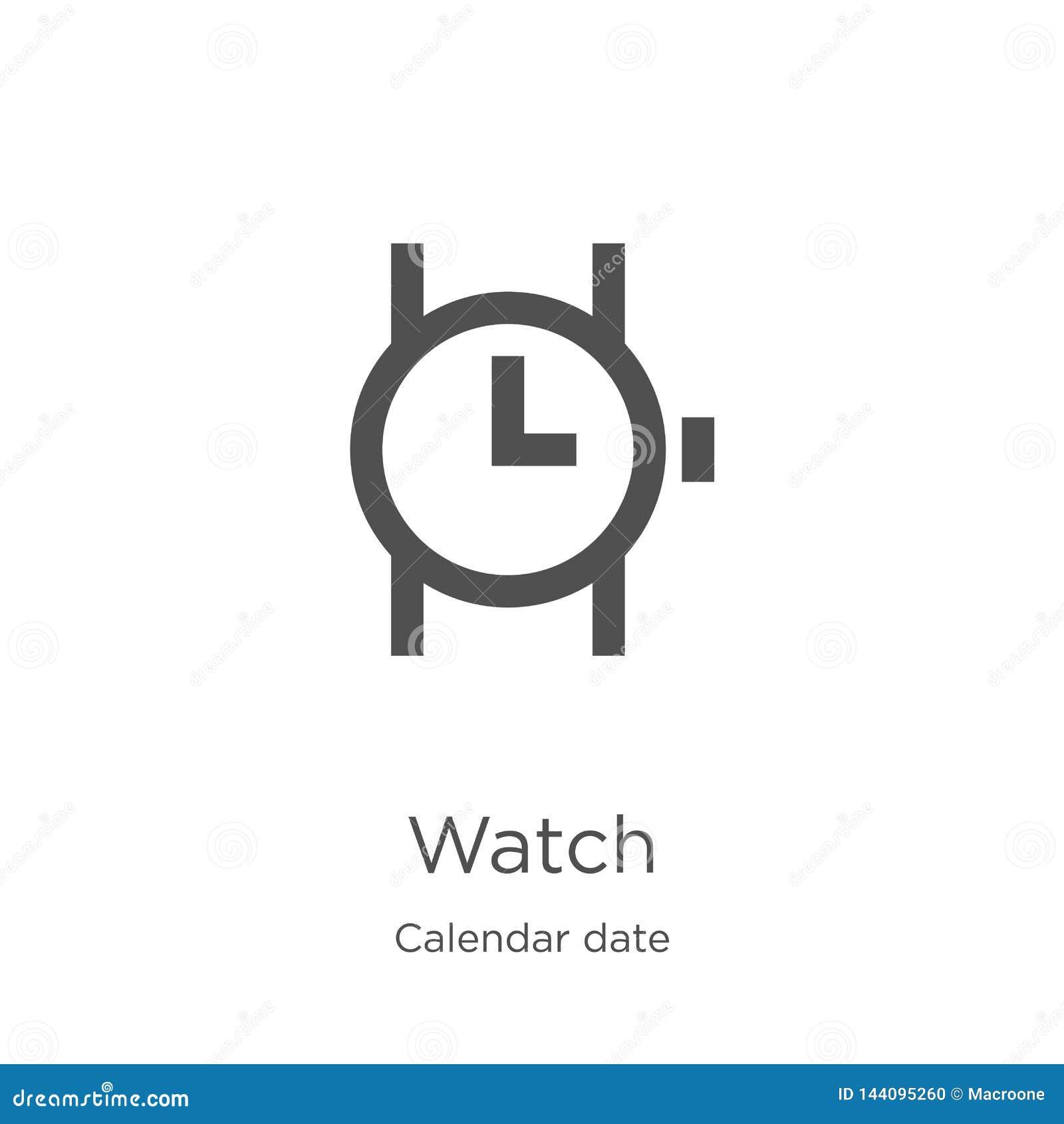 手表从历日汇集的象传染媒介 稀薄的线手表概述象传染媒介例证 概述,稀薄的线手表象