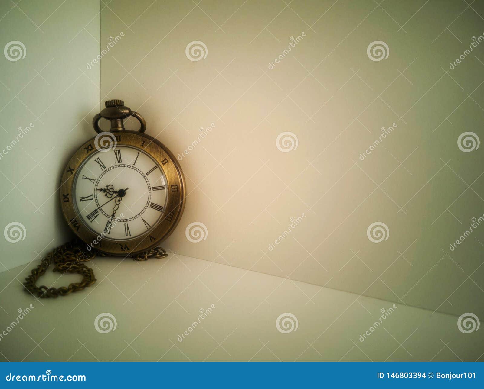 手表运载在白色背景安置的一个古色古香的袋子 It';s古董
