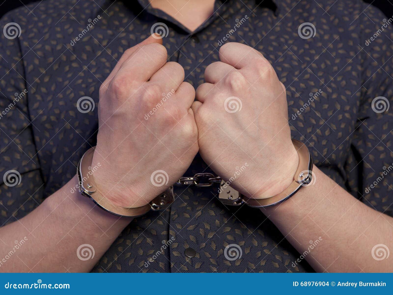 手铐的被拘捕的人