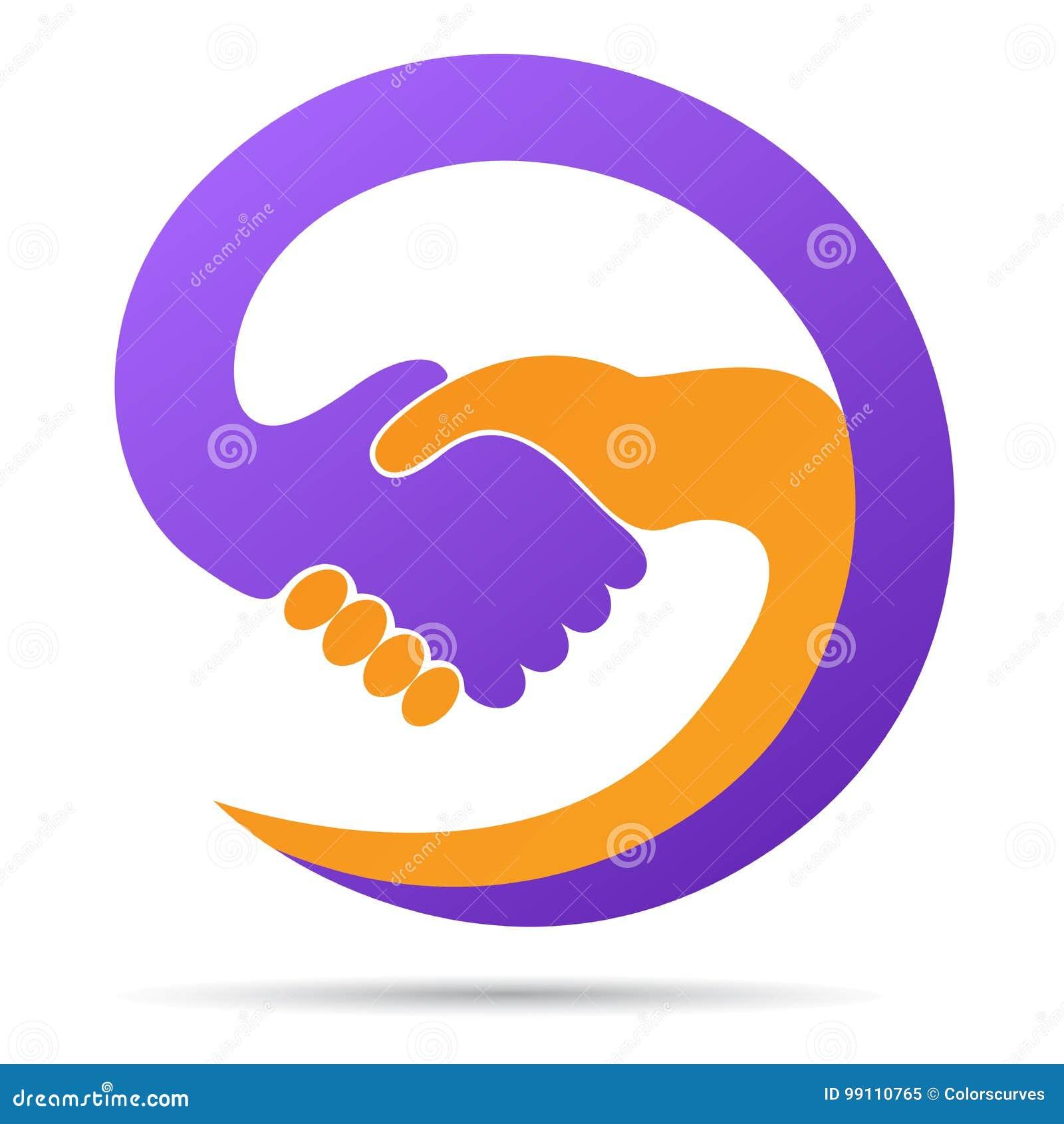 手震动的商标帮助一起合作信任友好的合作标志传染媒介象设计