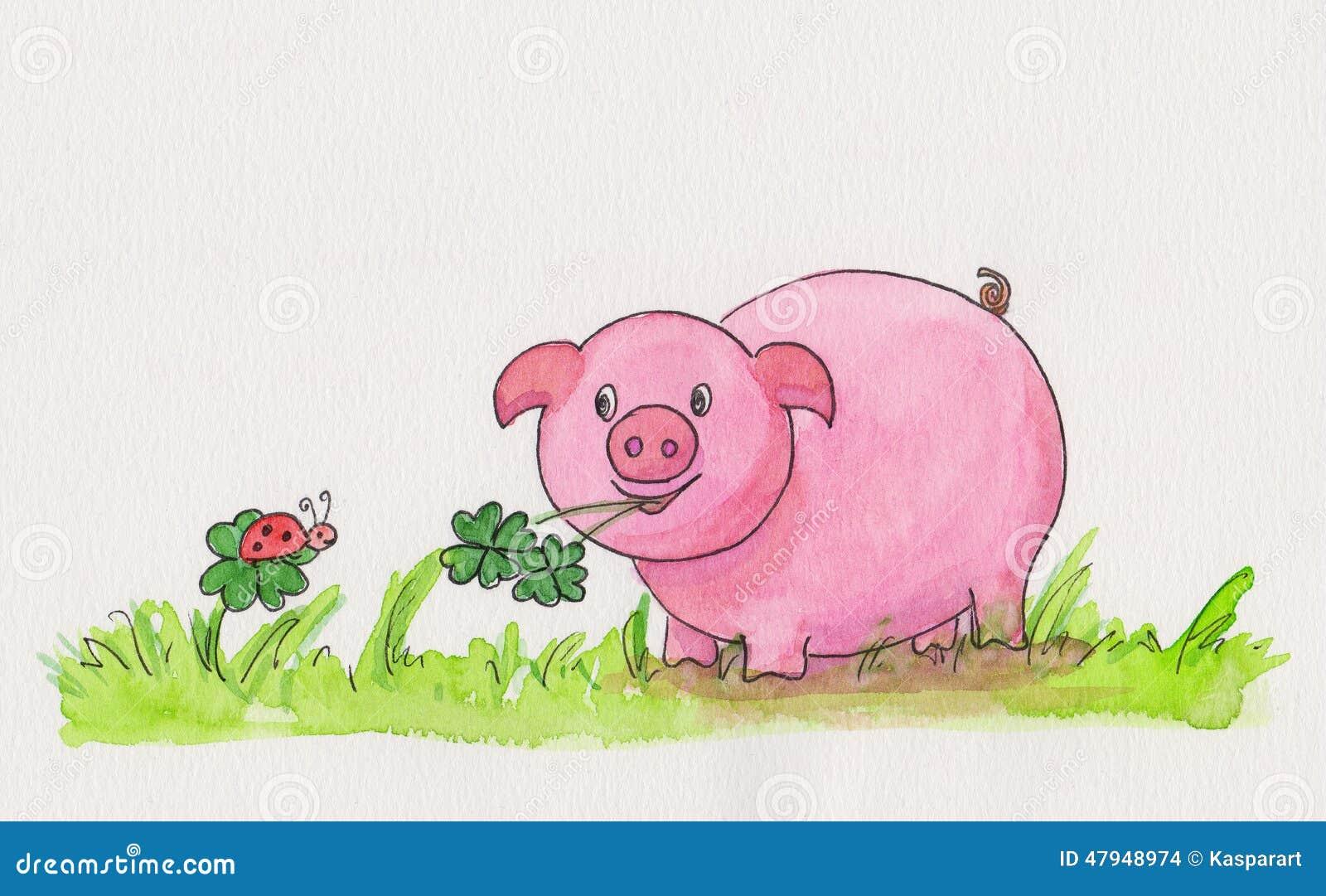 与显示猪四的拷贝空间的一张手画新年水彩绘画有叶的三叶草和瓢虫图片