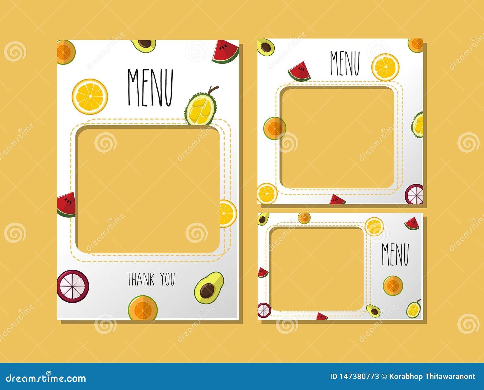 打印模板菜单果子甜点
