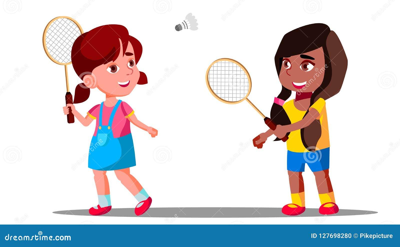 打在操场的孩子羽毛球夏天传染媒介的 女孩 按钮查出的现有量例证推进s启动妇女
