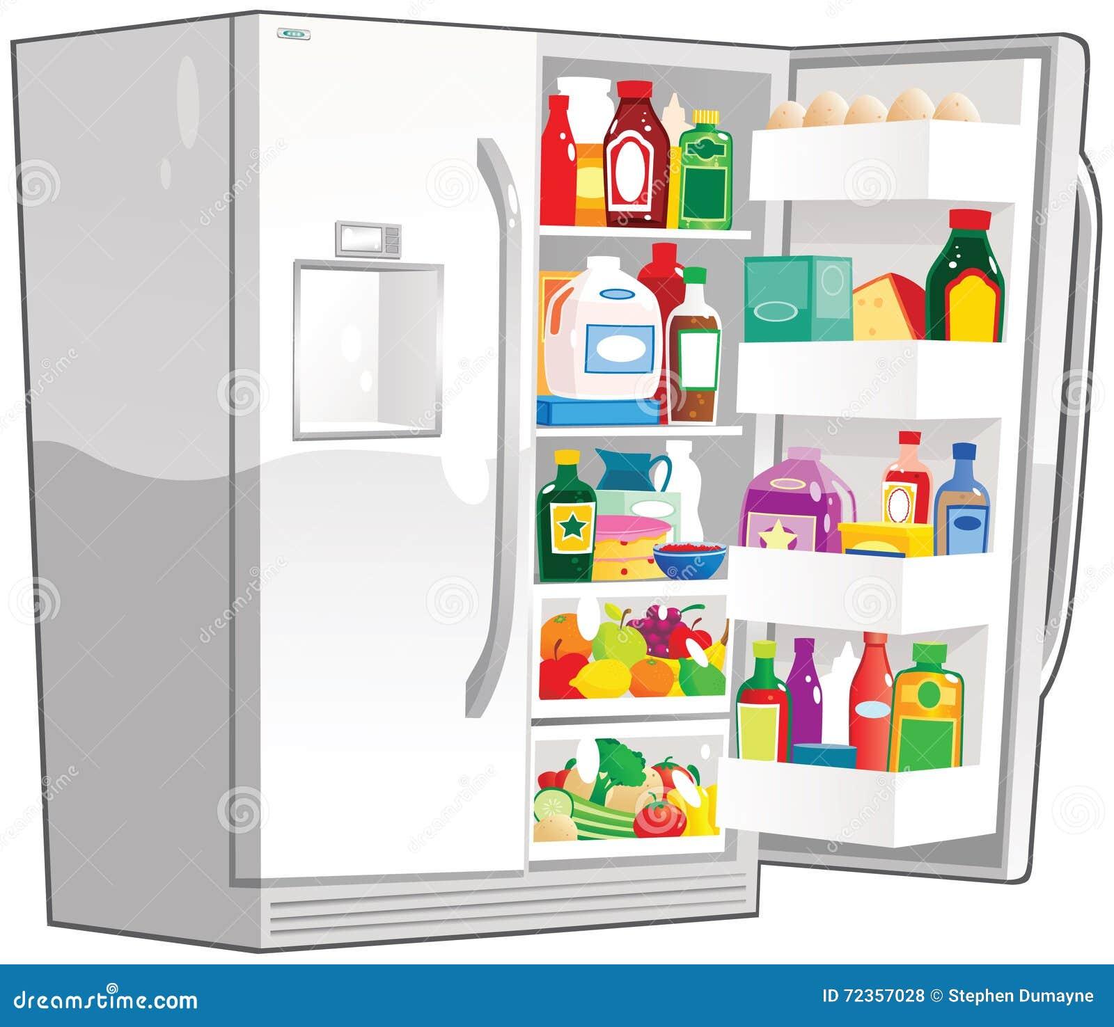 打开双重宽度冰箱