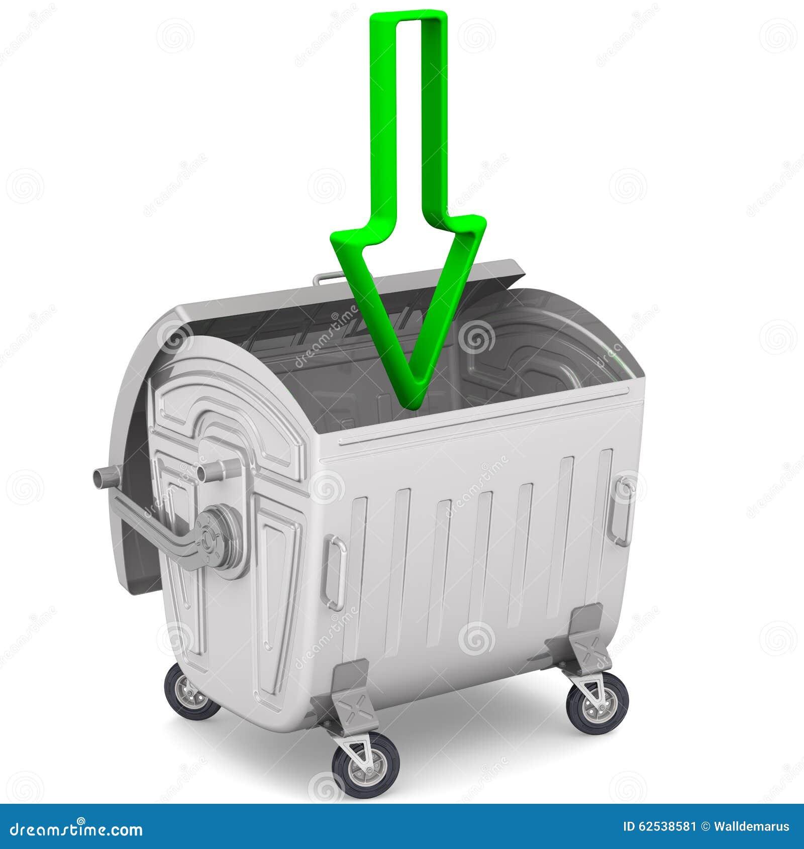 打开有指向一个绿色的箭头的垃圾容器下来