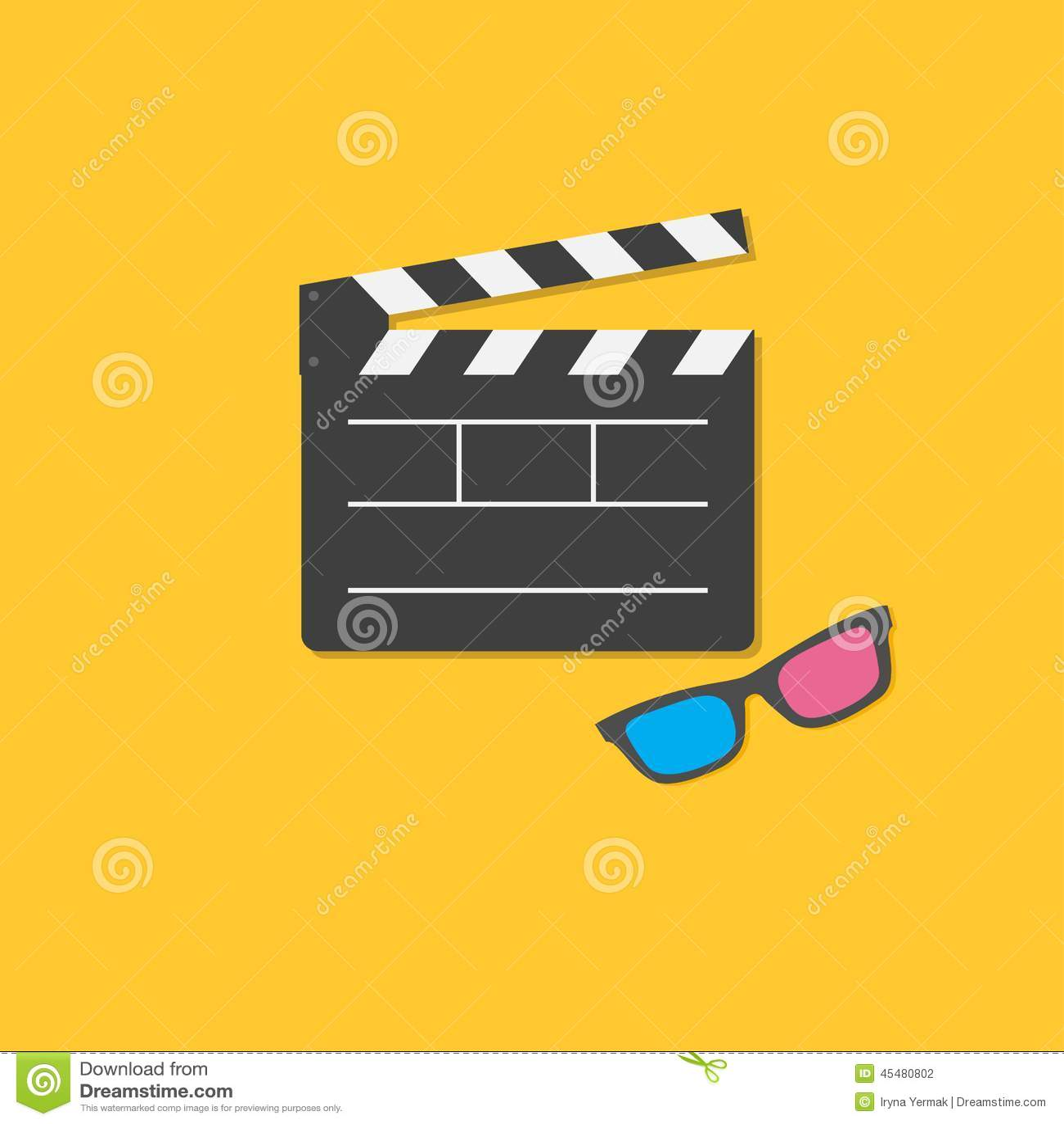 打开电影拍板和3D玻璃模板象 平的设计样式
