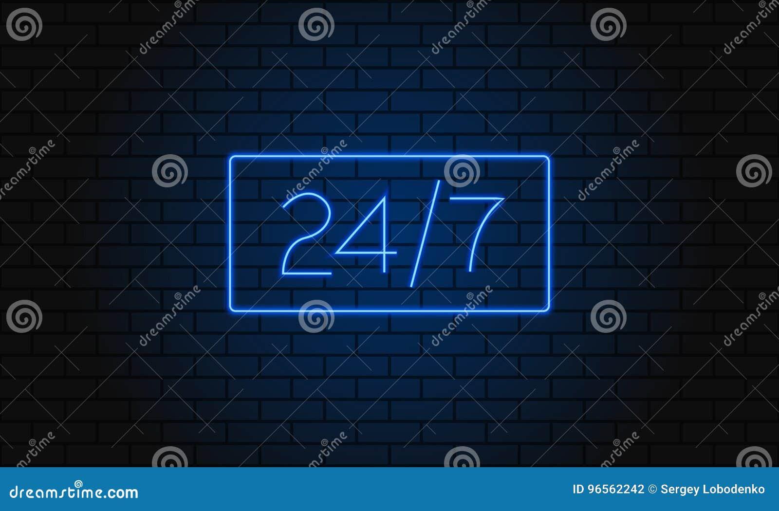 打开24 7个小时在砖墙上的霓虹灯 也corel凹道例证向量 24个小时夜总会酒吧霓虹灯广告
