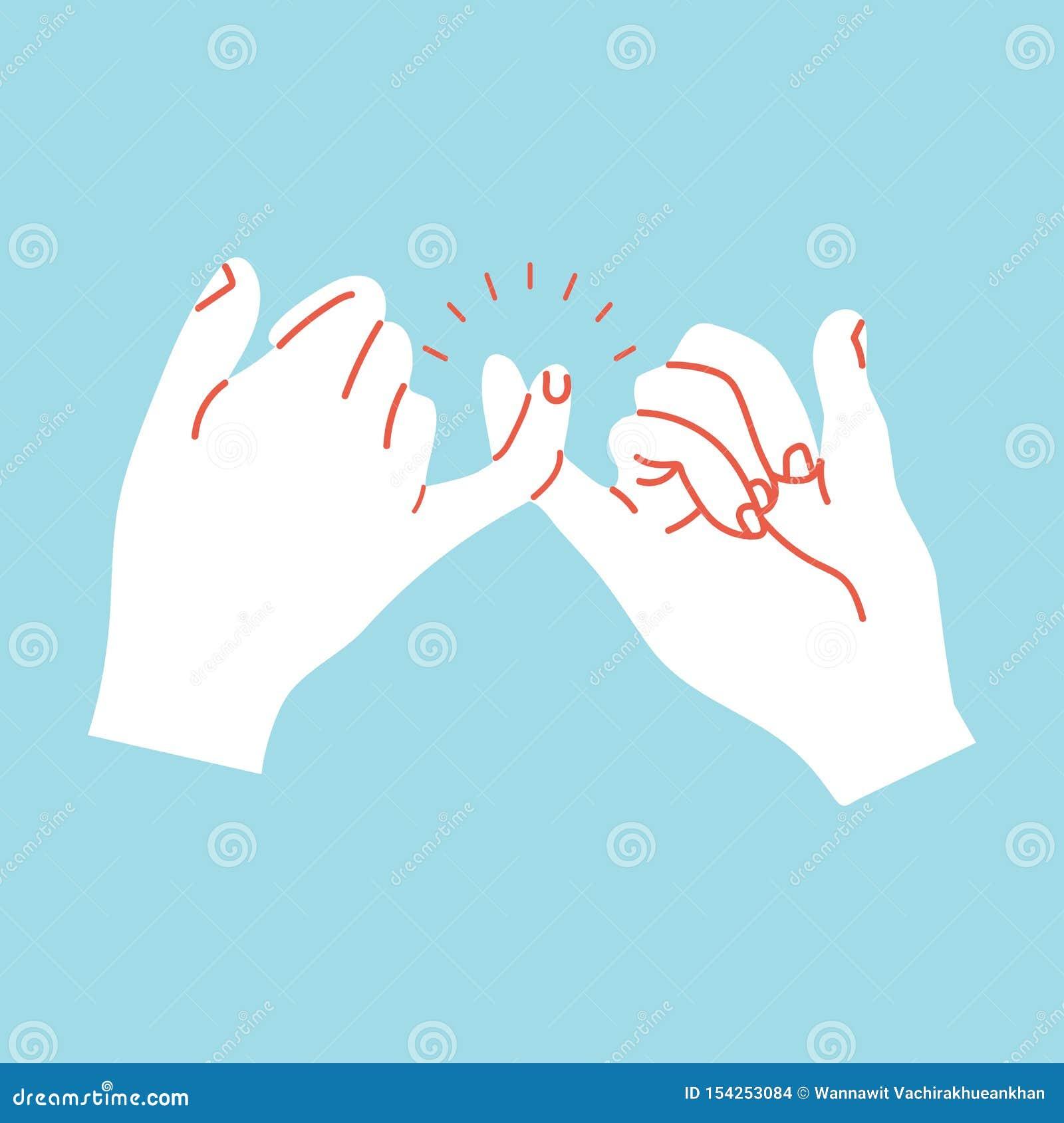 打手势橙色线的诺言手