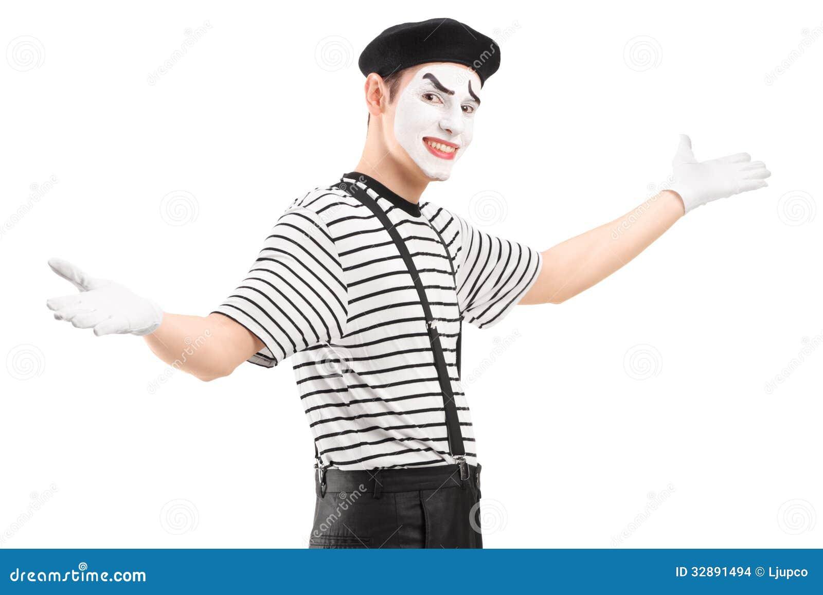 打手势用手的男性笑剧舞蹈家
