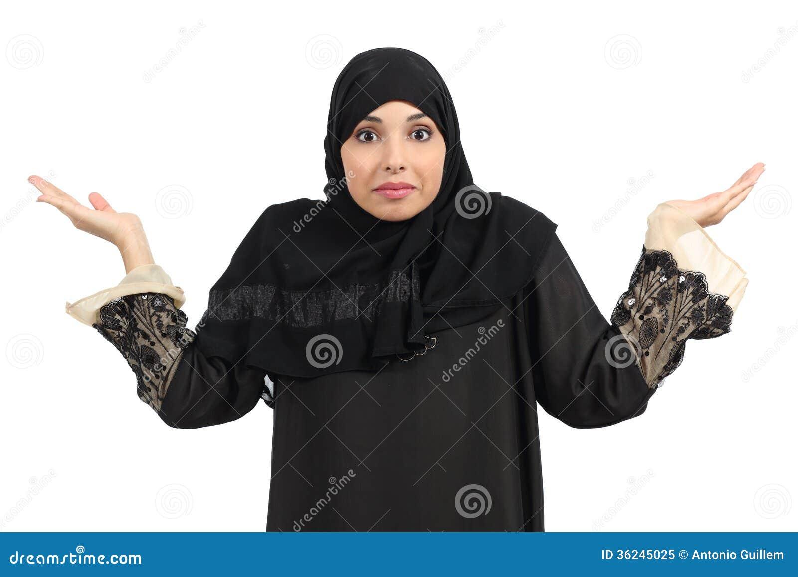打手势阿拉伯的妇女怀疑和