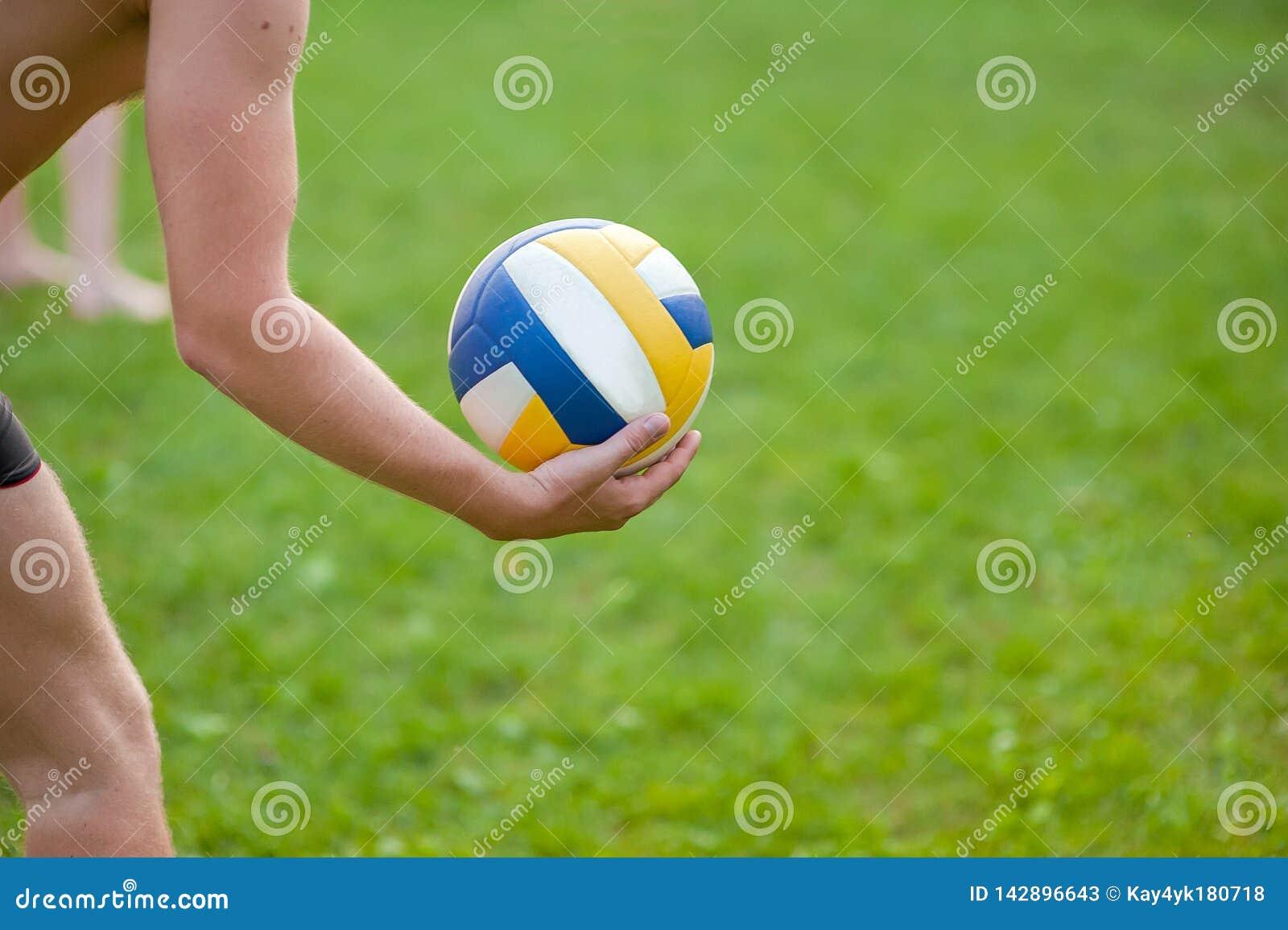 打沙滩排球的青少年的男孩 使用与球,排球球的草的排球运动员在他的手上