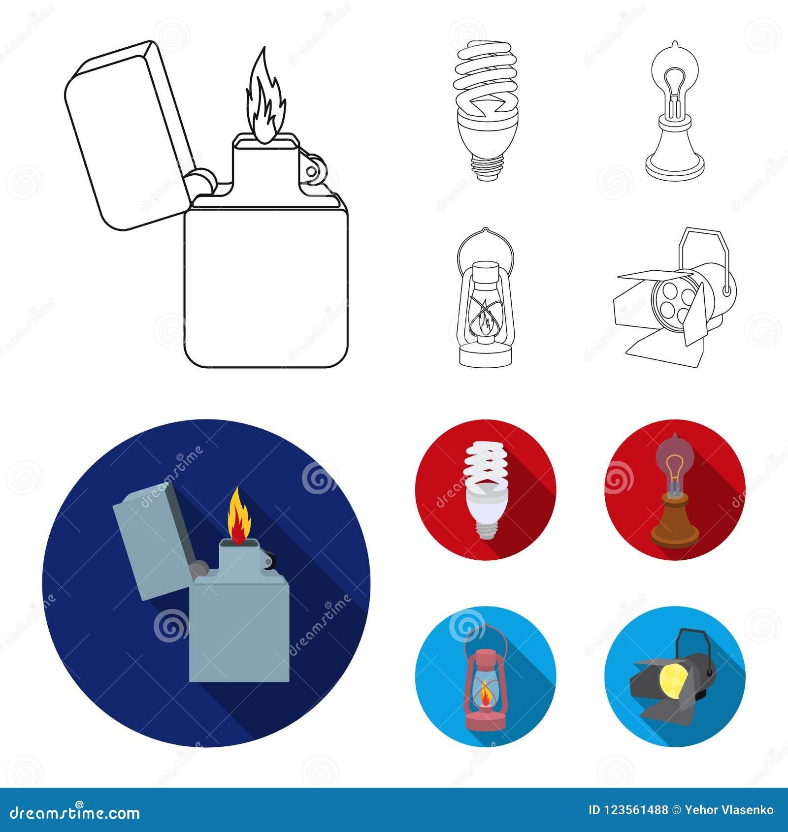 打火机,经济电灯泡,爱迪生灯,煤油灯 在概述,平的样式的光源集合汇集象