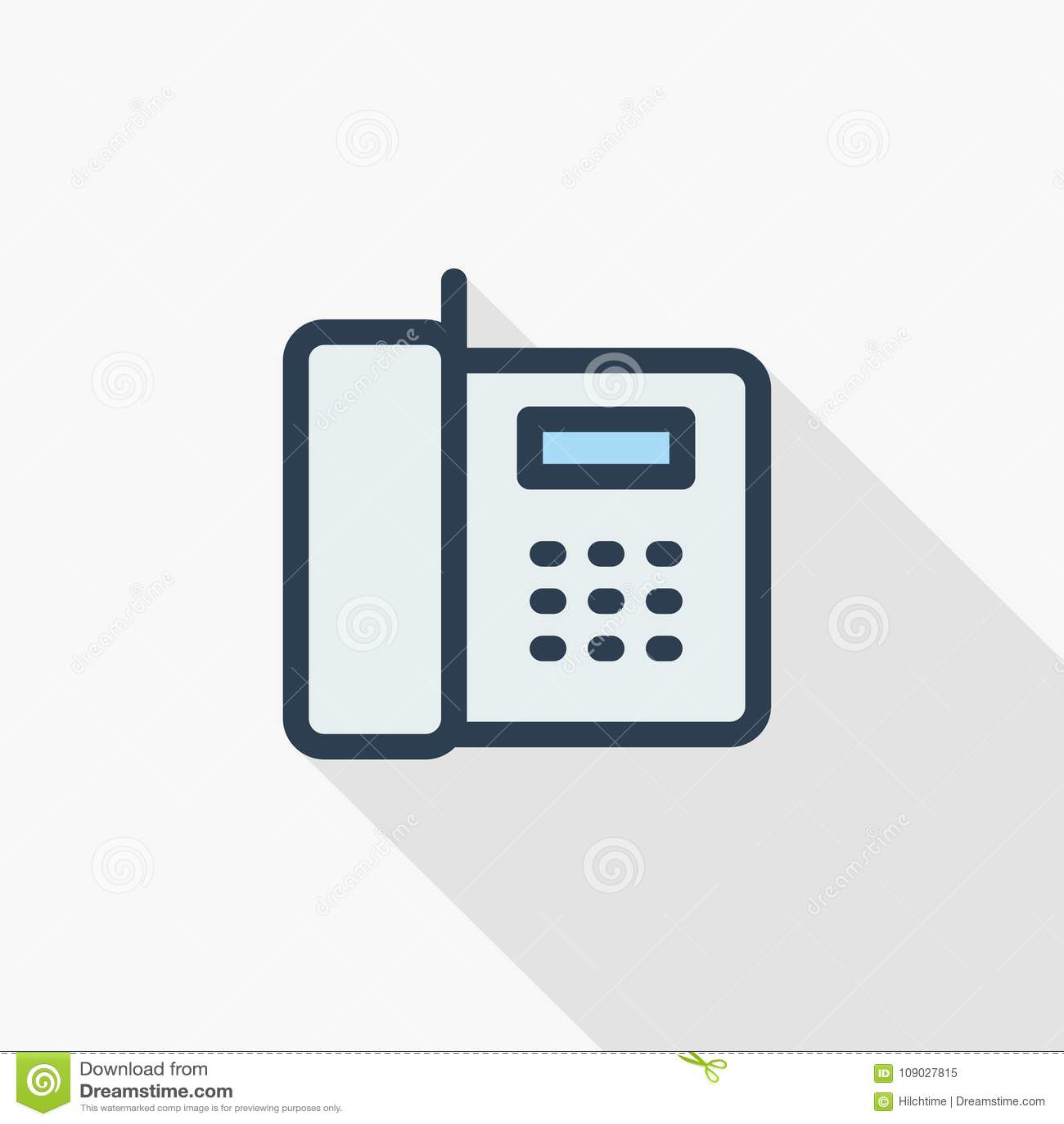 打电话,办公室电话稀薄的线平的象 线性传染媒介标志五颜六色的长的阴影设计