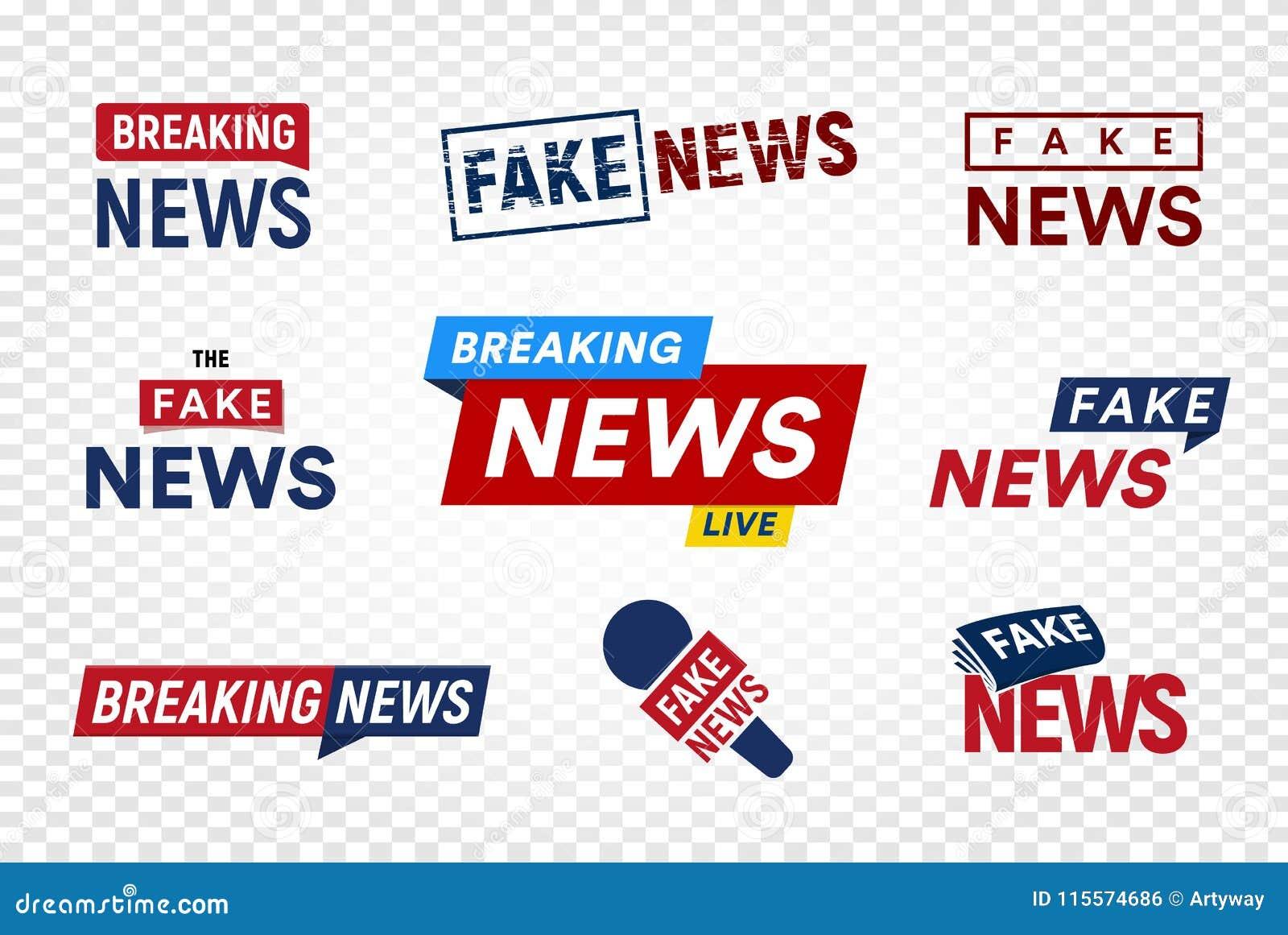 打破和在透明背景的假新闻商标模板 标题电视邮票 国际新闻传染媒介例证集合