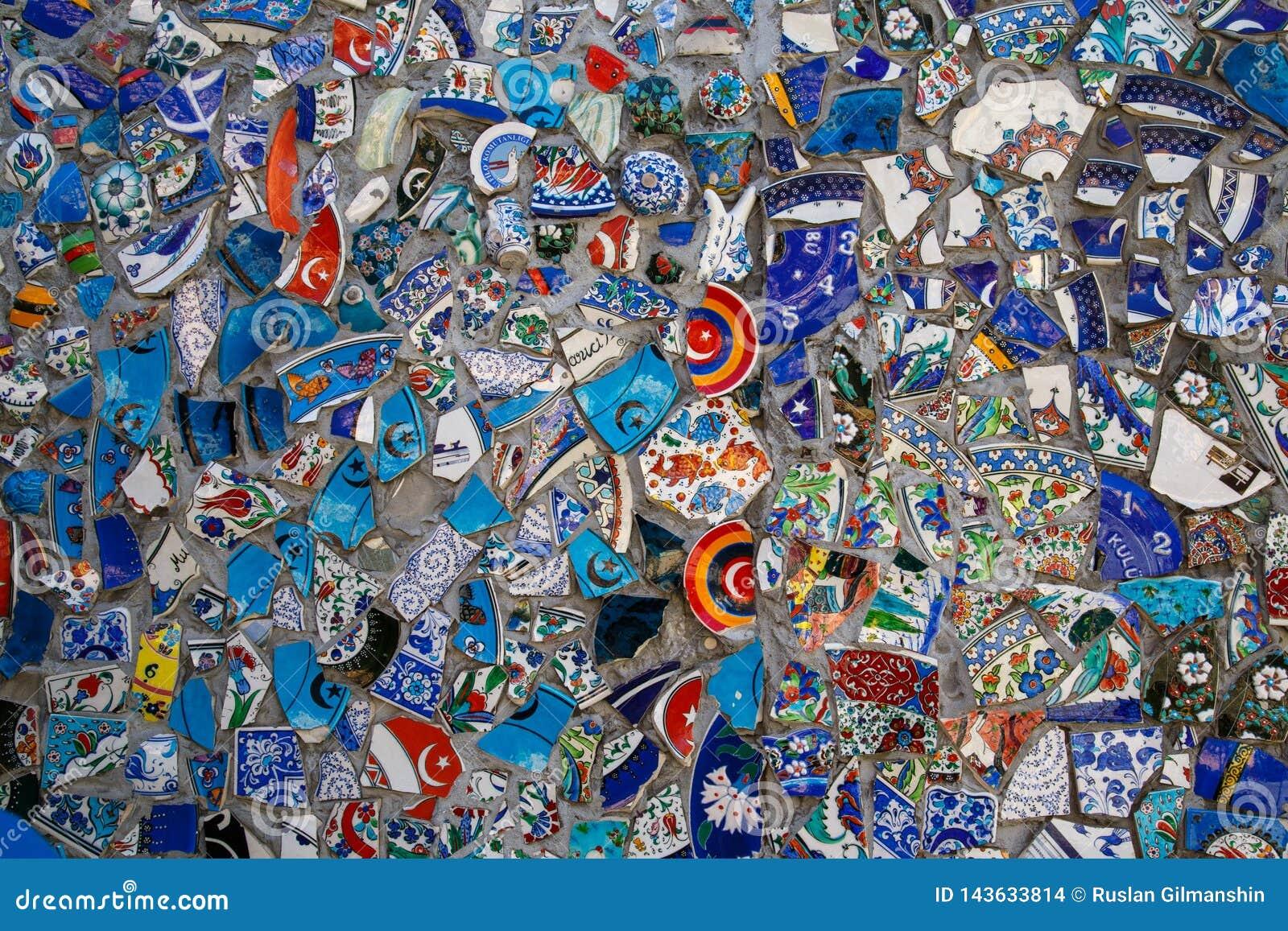 打破的板材五颜六色的残骸马赛克背景,墙壁陶瓷样式抽象派设计