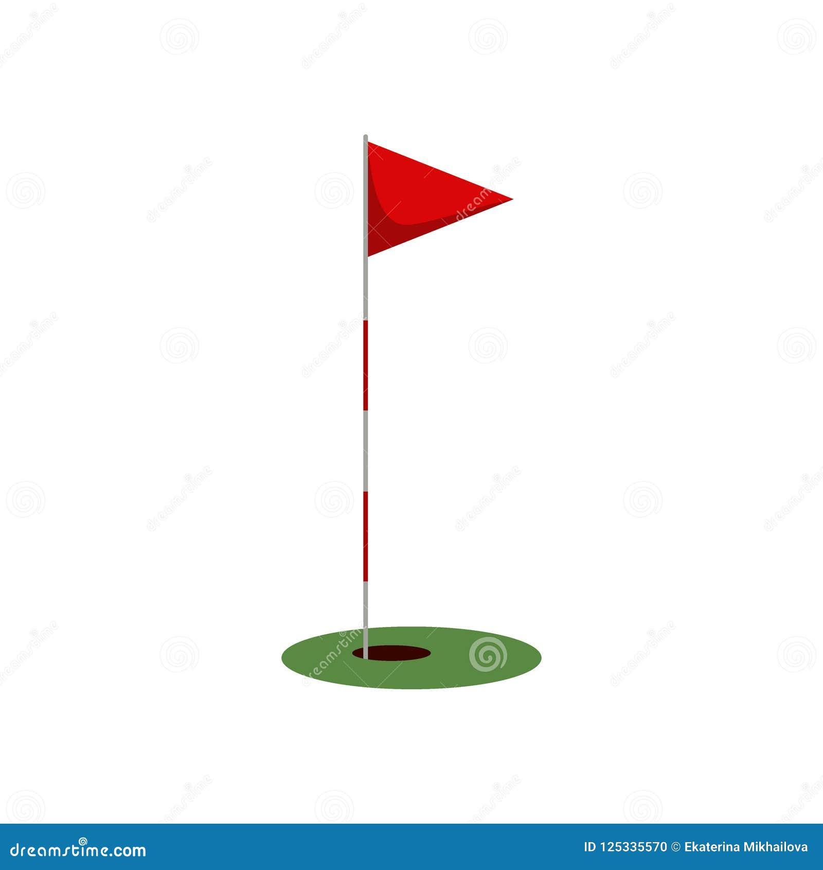 打高尔夫球在草的旗子与在白色背景隔绝的孔,打高尔夫球的平的元素,高尔夫用品-传染媒介