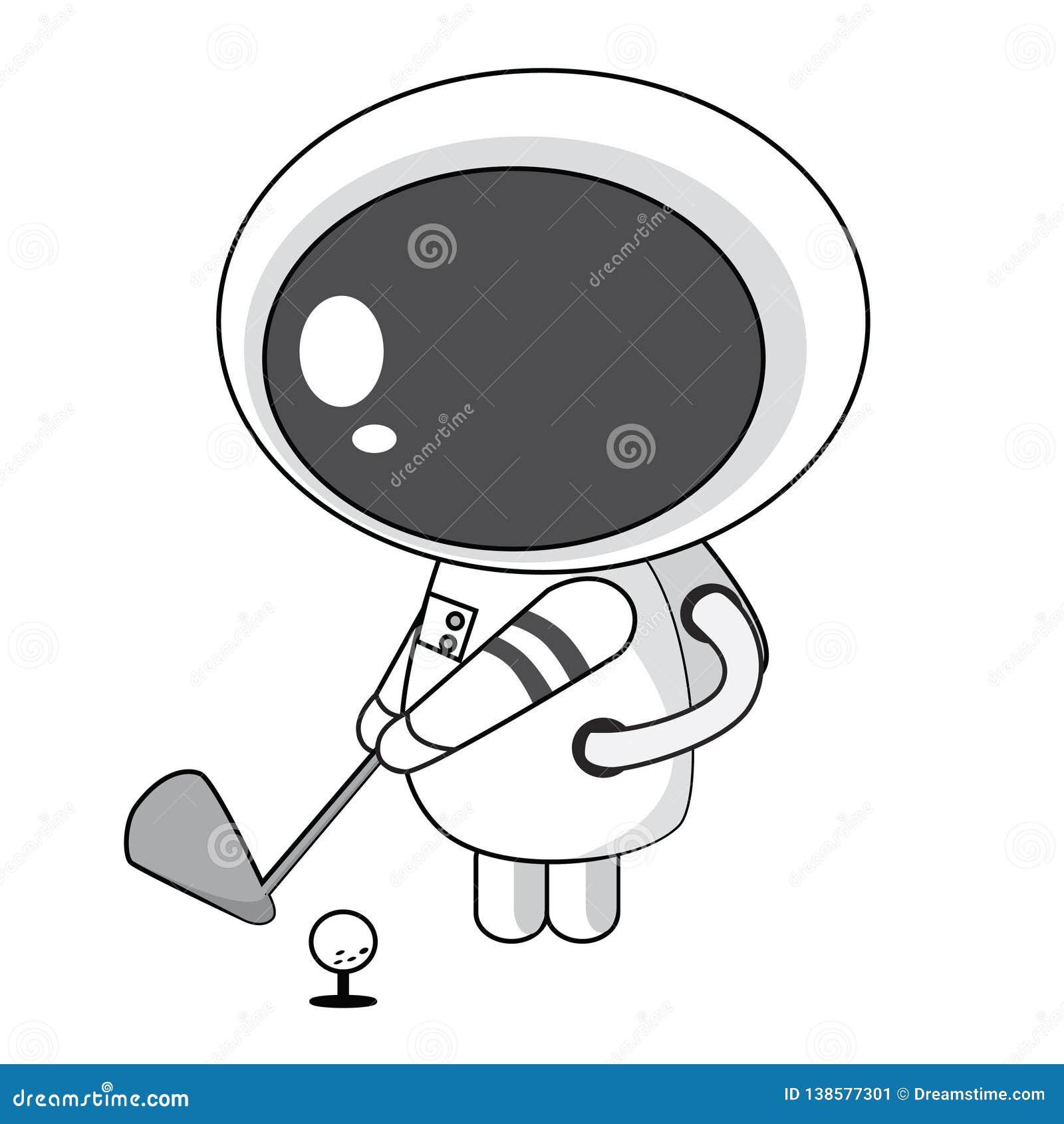 打高尔夫球的宇航员