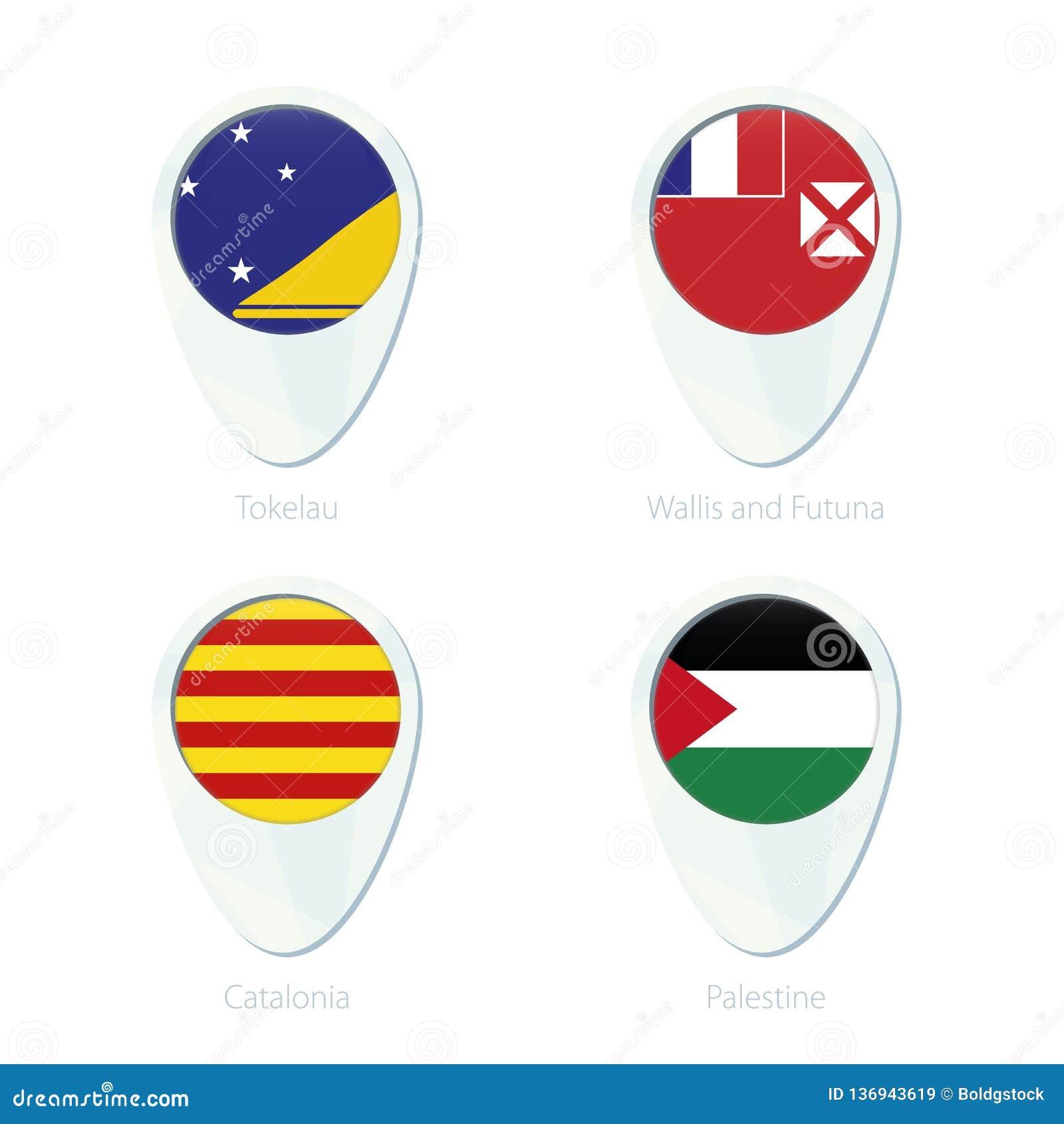 托克劳,瓦利斯和富图纳群岛,加泰罗尼亚,巴勒斯坦旗子定位图别针象