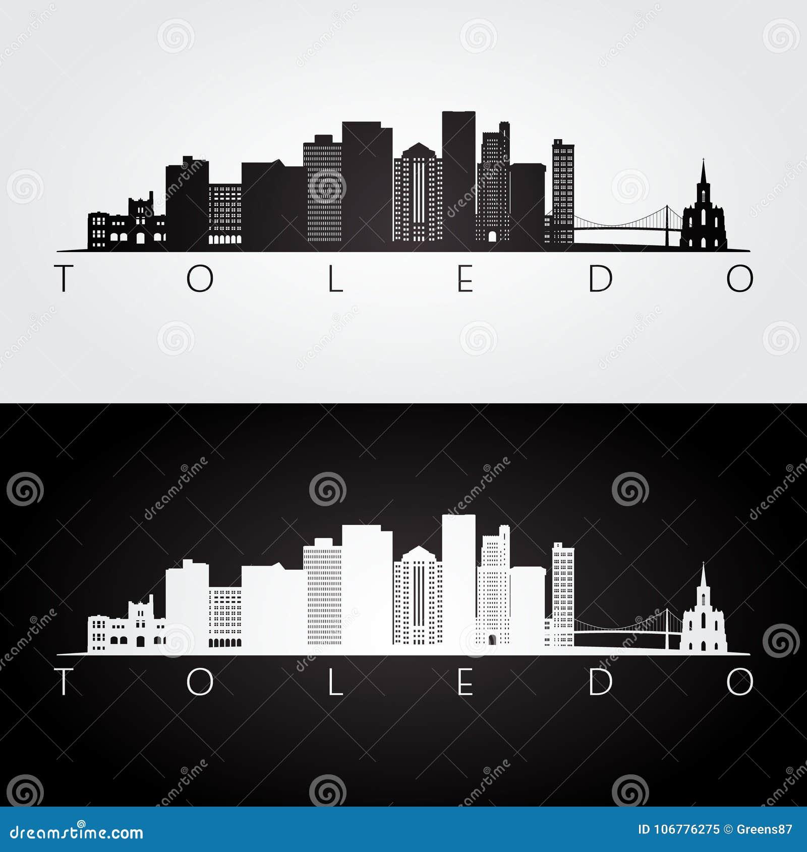 托莱多美国地平线和地标剪影