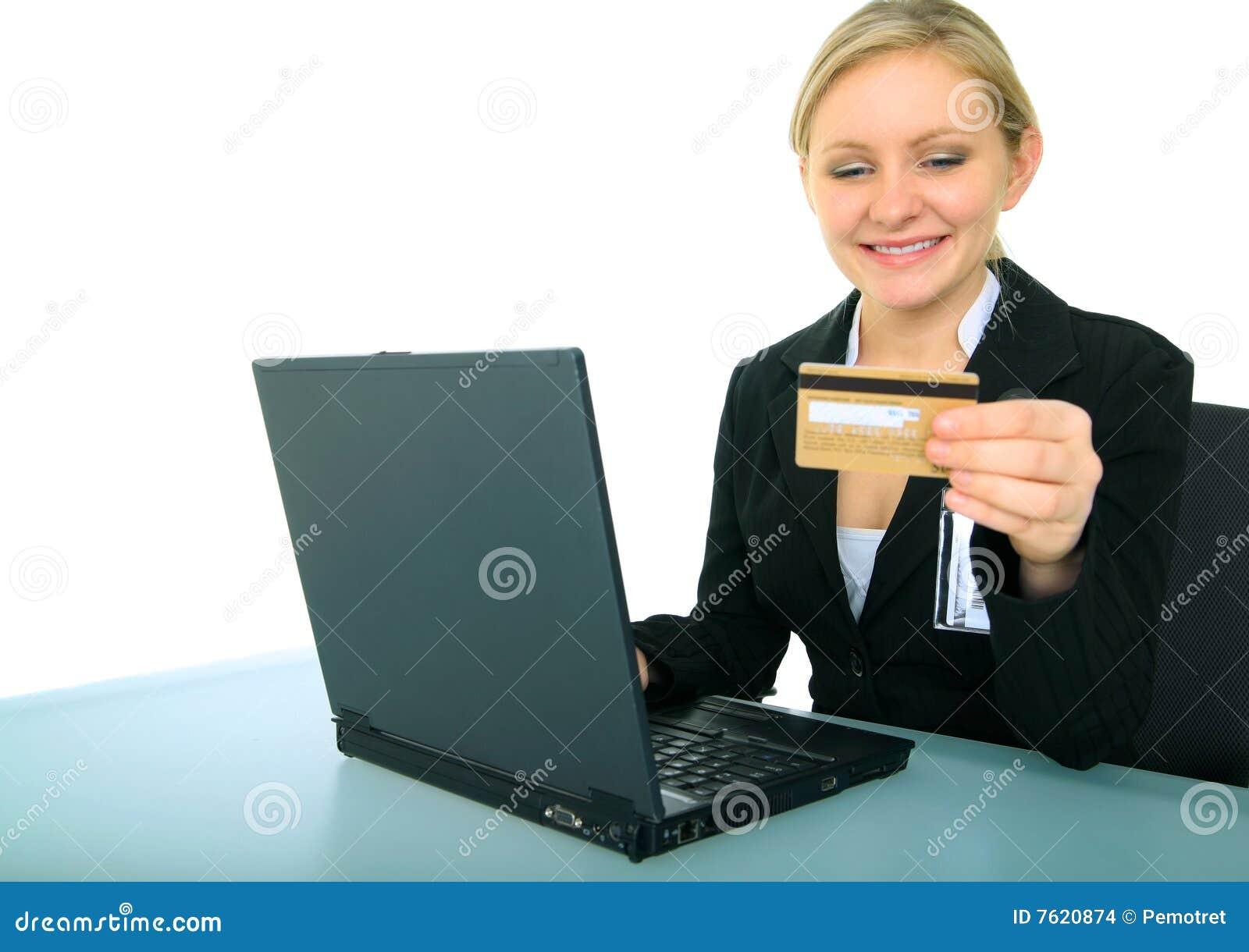 执行女性在线购物年轻人的女实业家