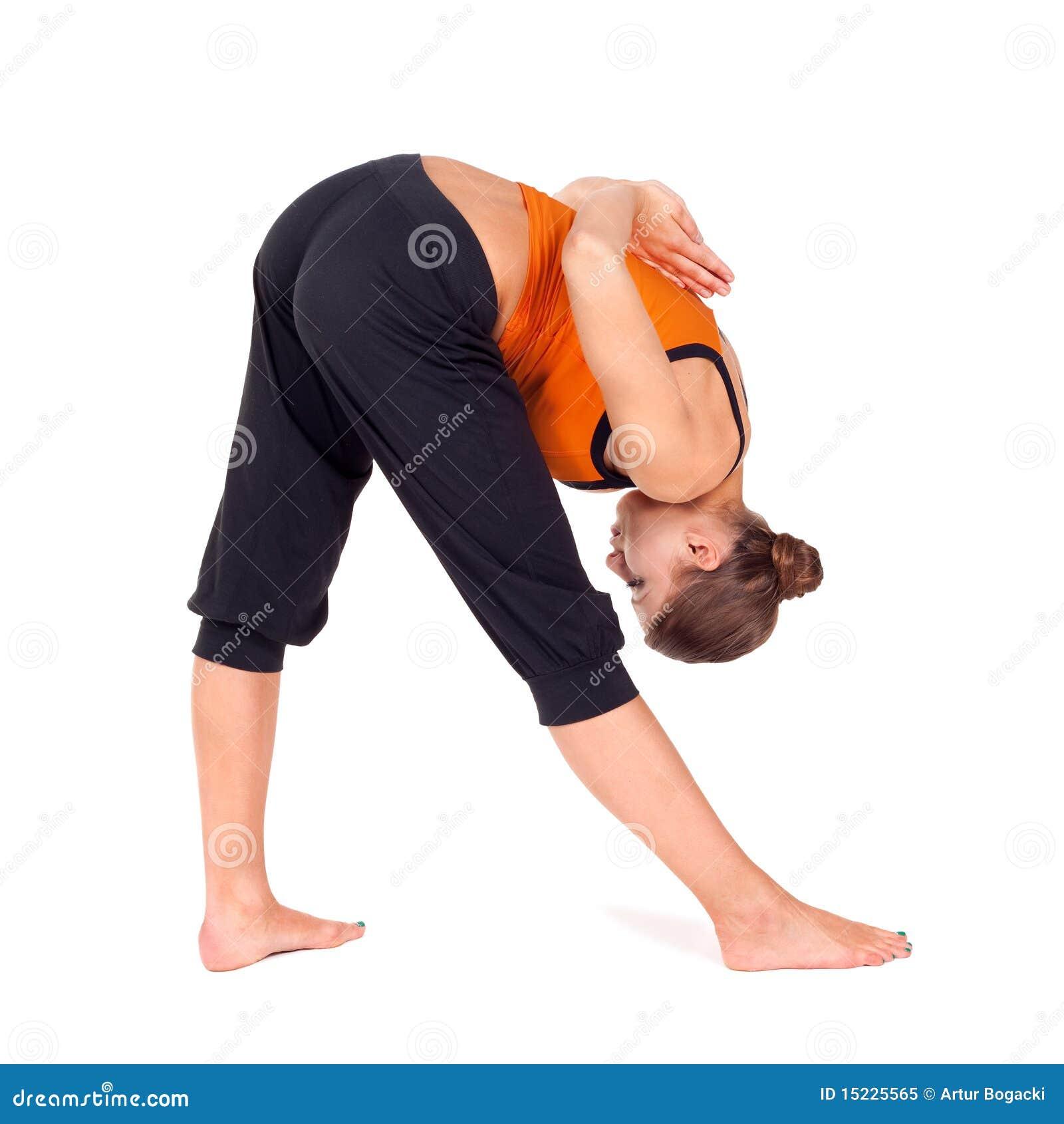 执行执行强烈的副舒展女子瑜伽