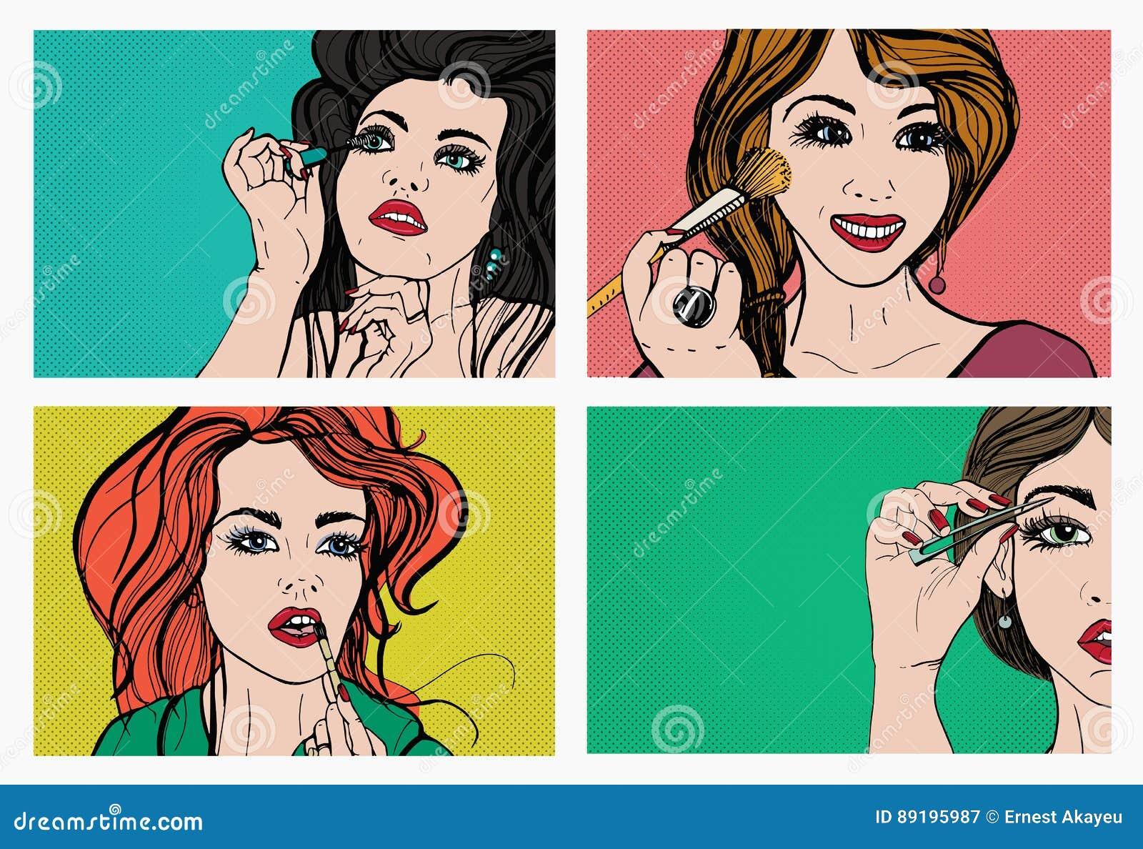 执行构成妇女 有化妆用品的,唇膏,眼眉,皮肤,染睫毛油美丽的女孩 流行艺术,减速火箭,漫画样式集合