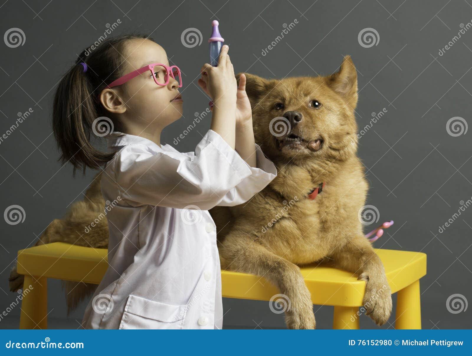 扮演有狗的女孩兽医