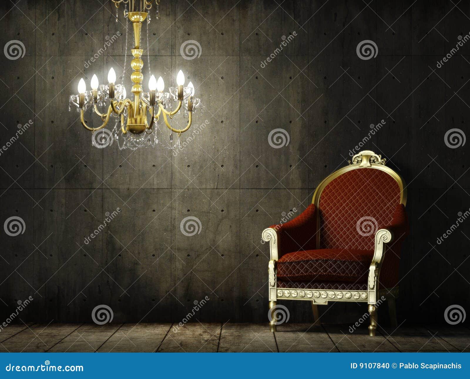 扶手椅子经典grunge内部空间