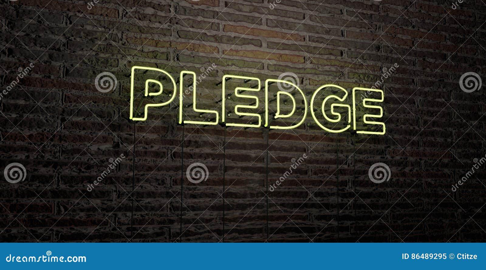 承诺-在砖墙背景的现实霓虹灯广告- 3D回报了皇族自由储蓄图象