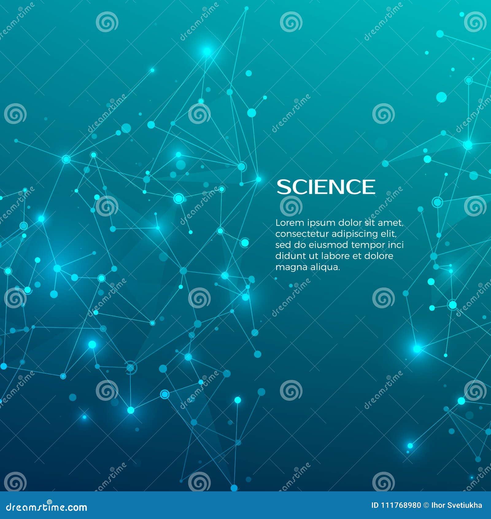 技术和科学背景 抽象网和结 背景图表眼睛医疗验光师 结节原子结构 向量