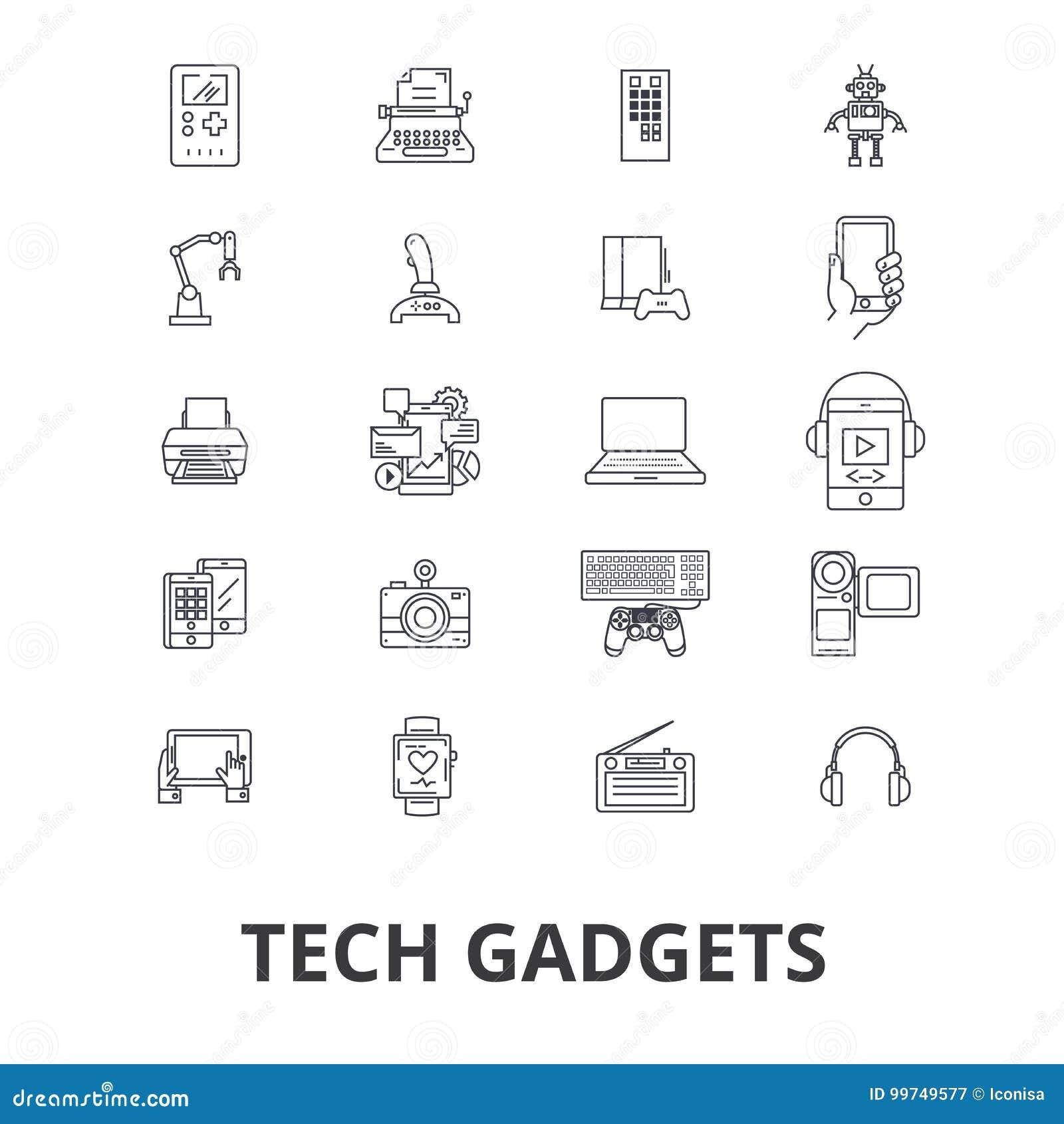 技术小配件,技术,电子,膝上型计算机,片剂,照相机,耳机排行象 编辑可能的冲程 平的设计