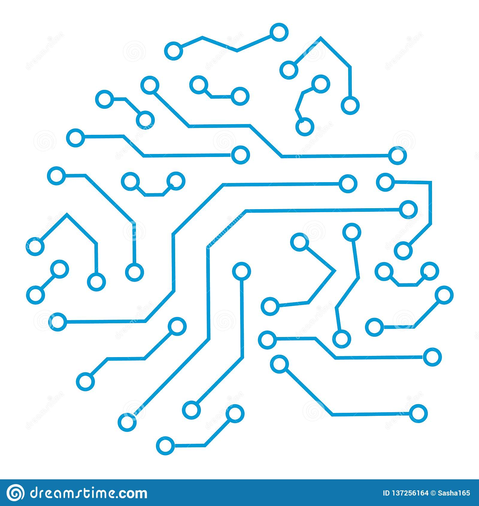 技术通信计算机控制学的元素 传染媒介在白色背景隔绝的电路板的摘要例证