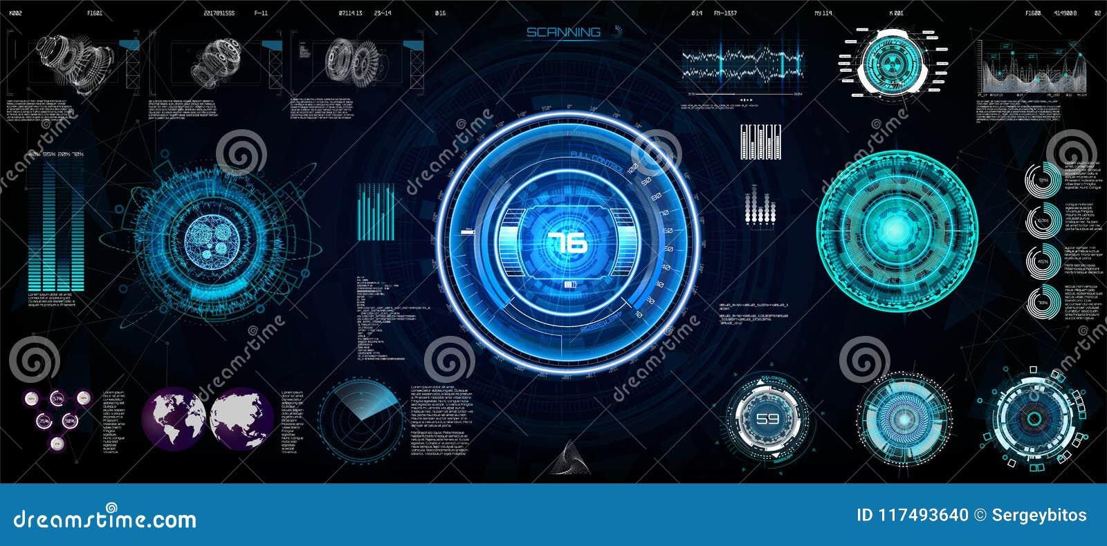 技术Ui未来派概念HUD,接口