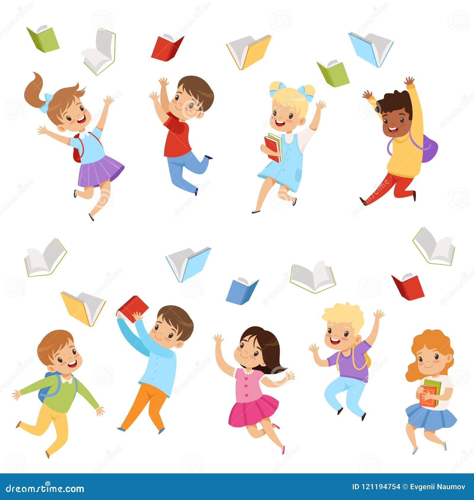 投掷书的平的传染媒介套逗人喜爱的孩子悬而未决 有愉快的面孔的孩子 小学的学生