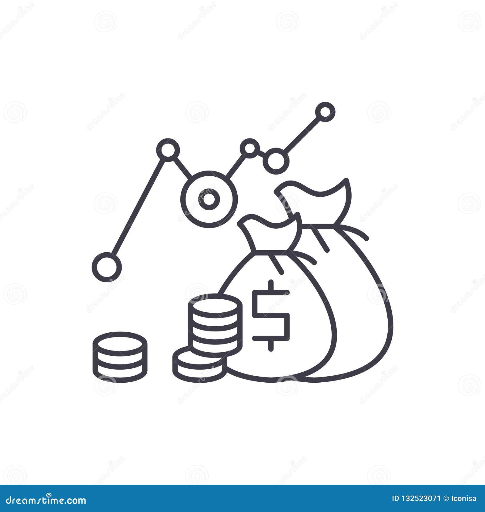 投资赢利线象概念 投资赢利传染媒介线性例证,标志,标志