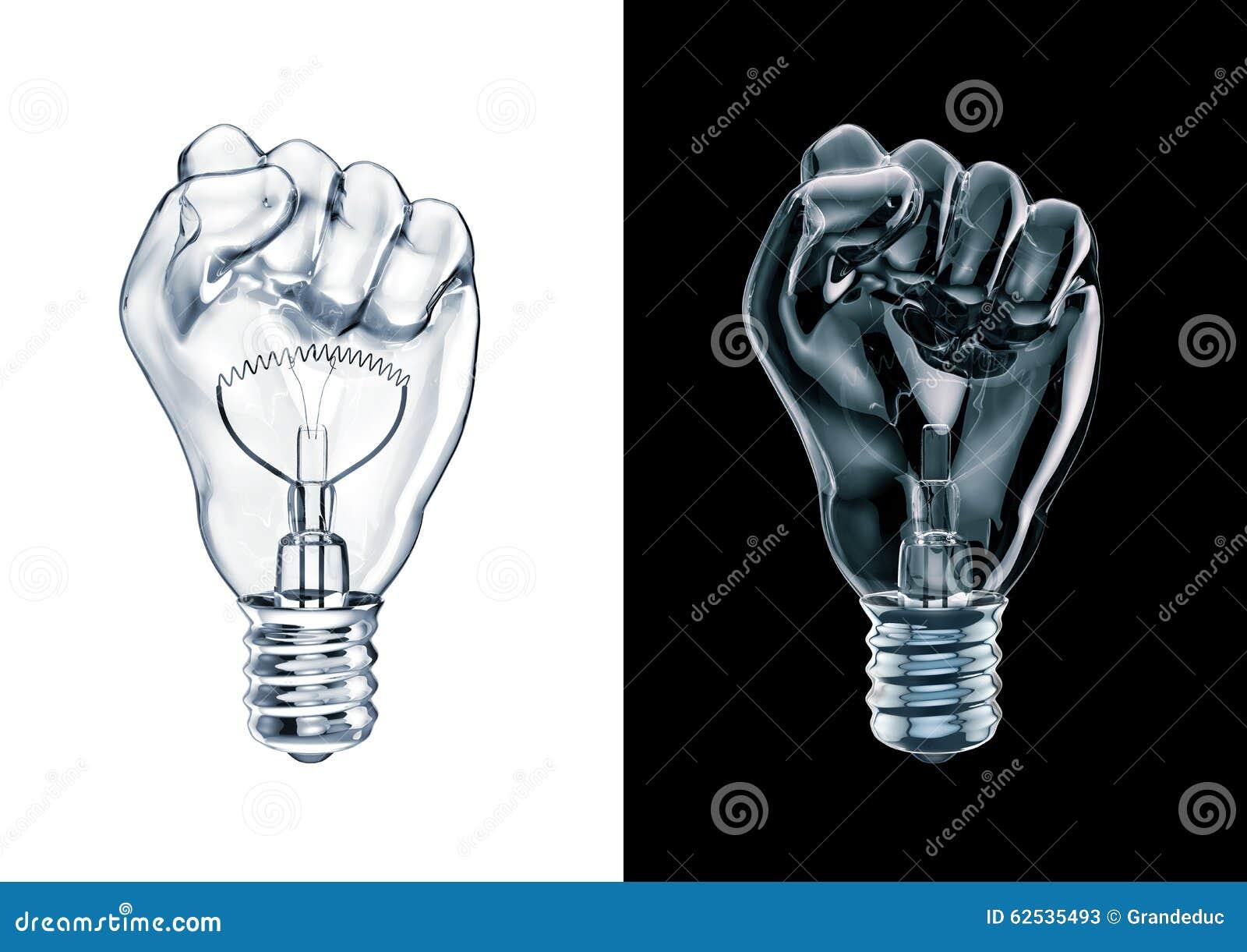 抗议拳头电灯泡