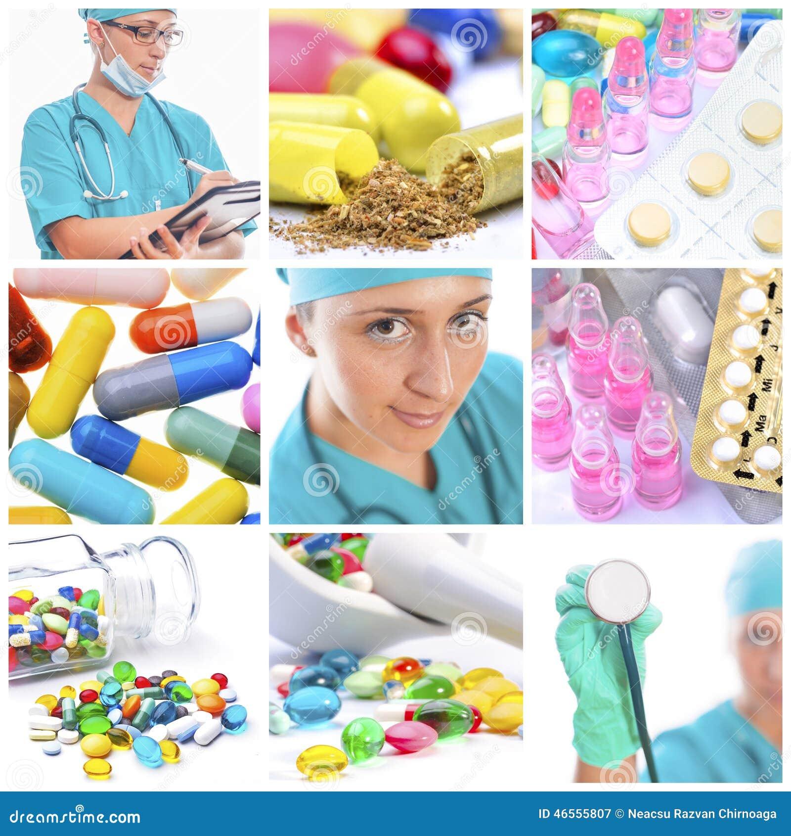 医护人员和药片