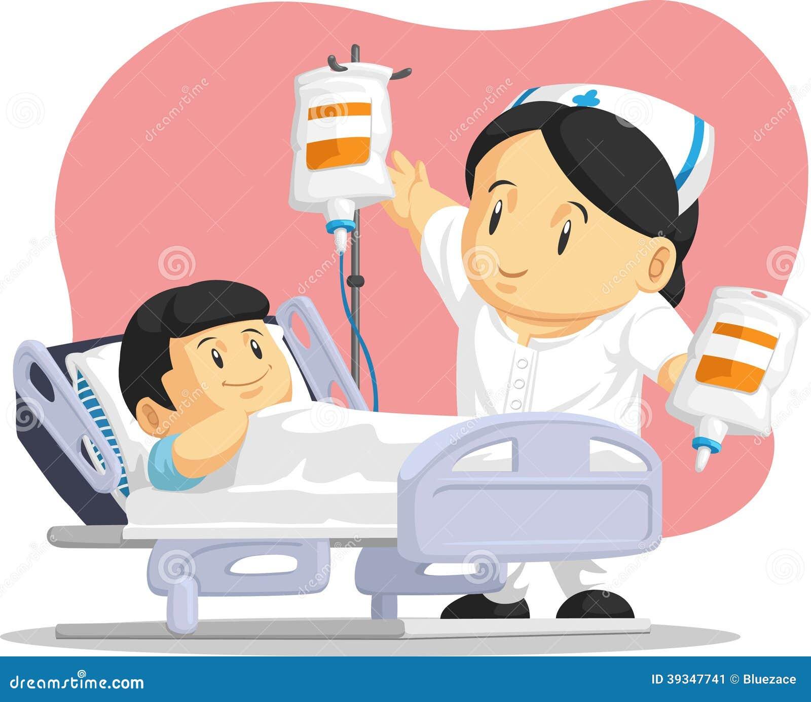 护士帮助的儿童患者动画片图片
