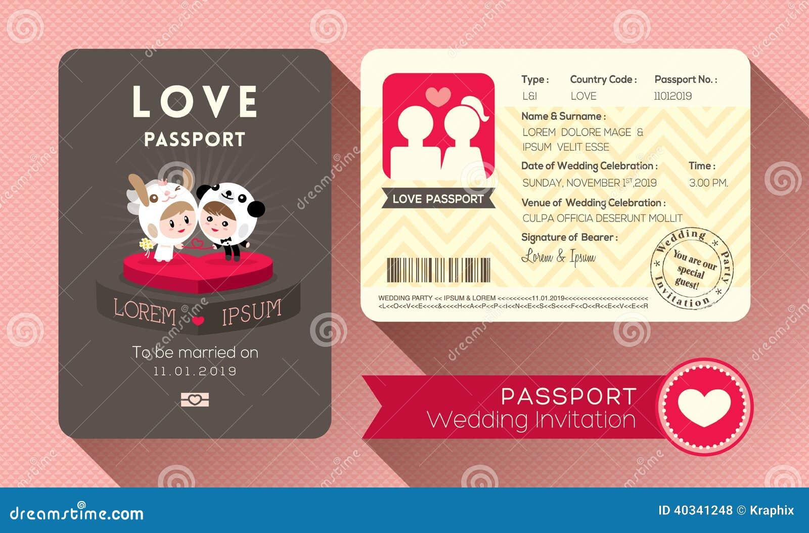 护照婚礼邀请