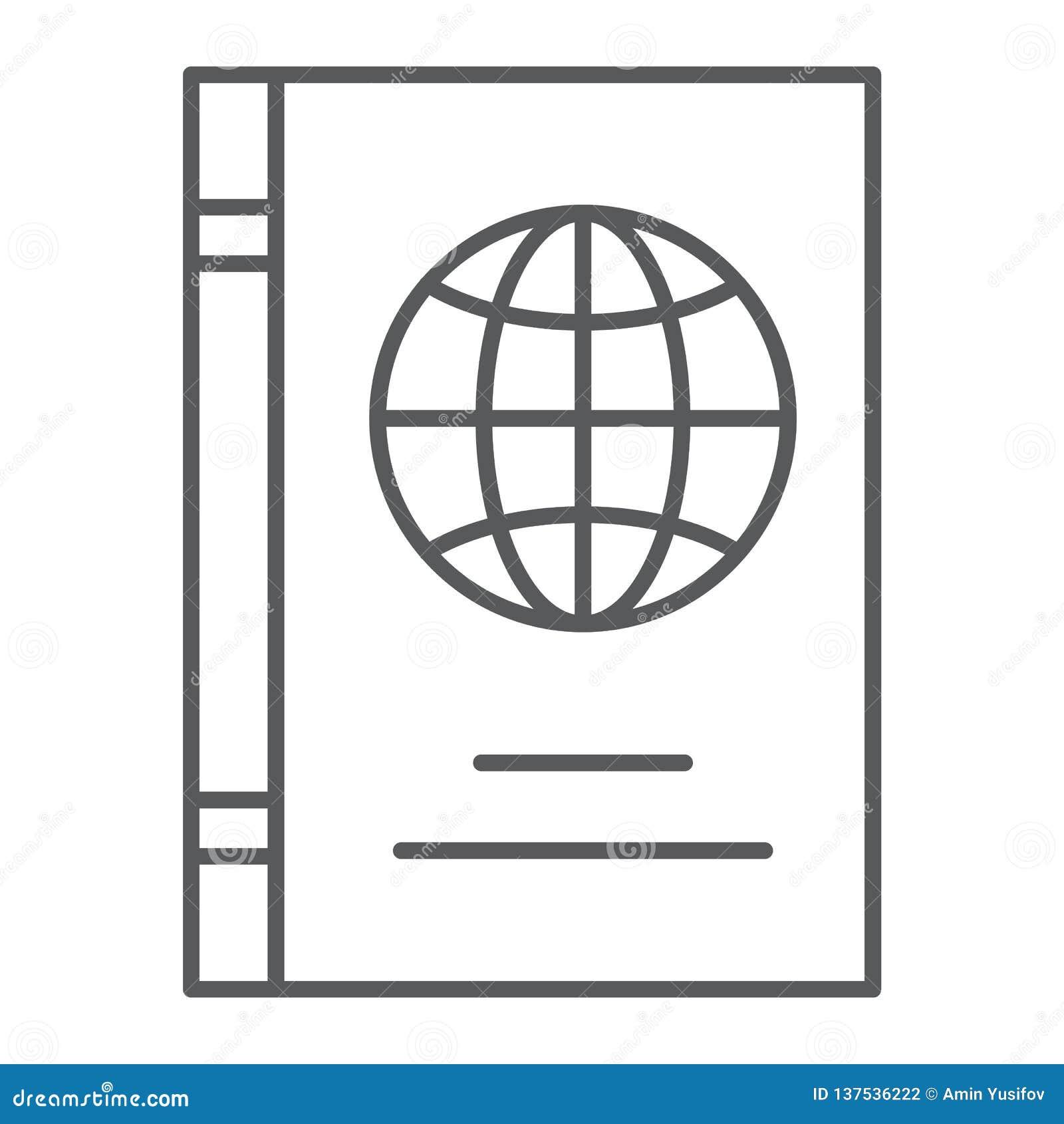 护照稀薄的线象,证明和旅行,身分证标志,向量图形,在白色的一个线性样式