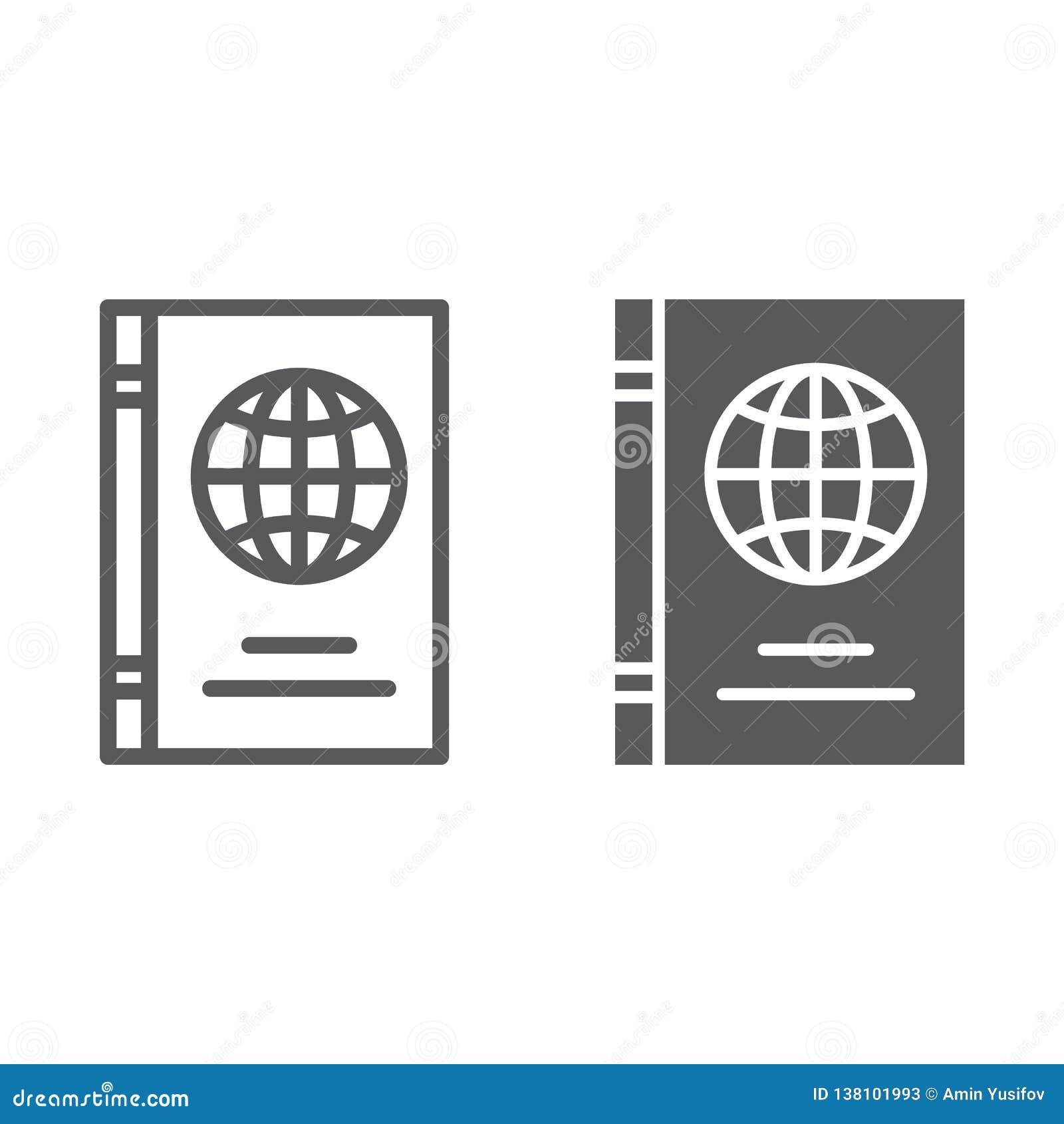护照线和纵的沟纹象、证明和旅行,身分证标志,向量图形,在a的一个线性样式