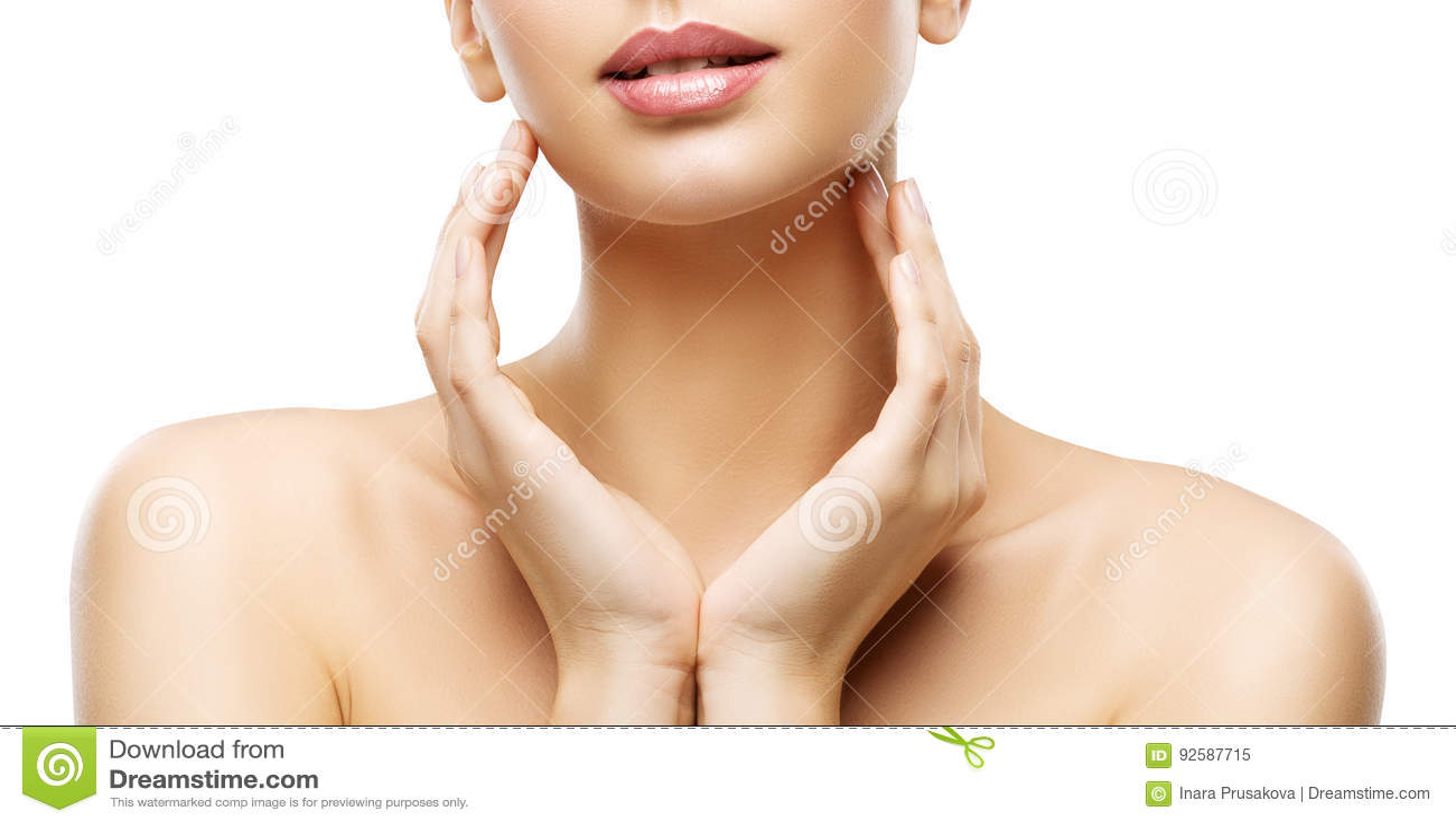 护肤秀丽、妇女嘴唇和手Skincare,健康身体